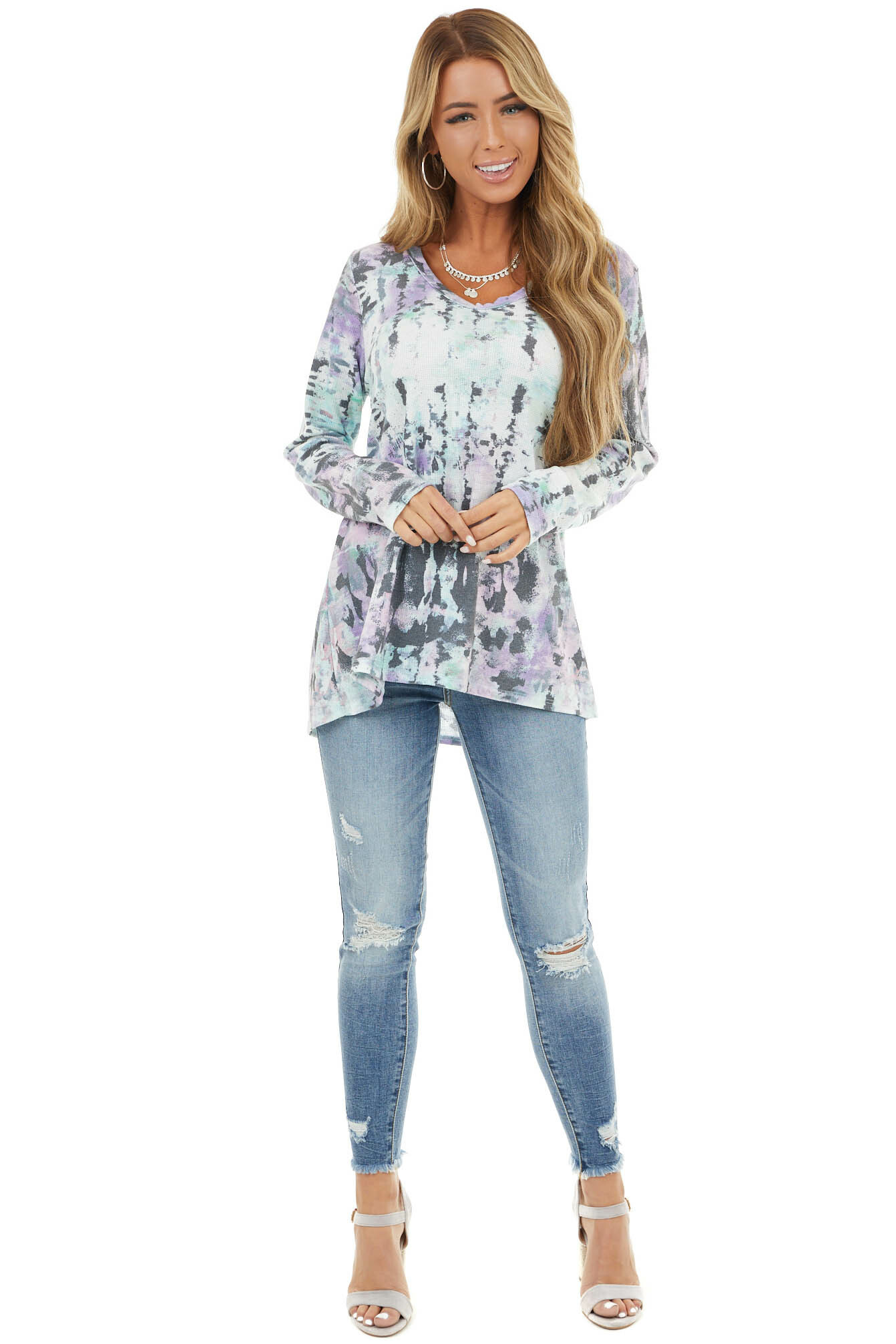 Lilac and Mint Tie Dye Textured Knit Top with Long Sleeves