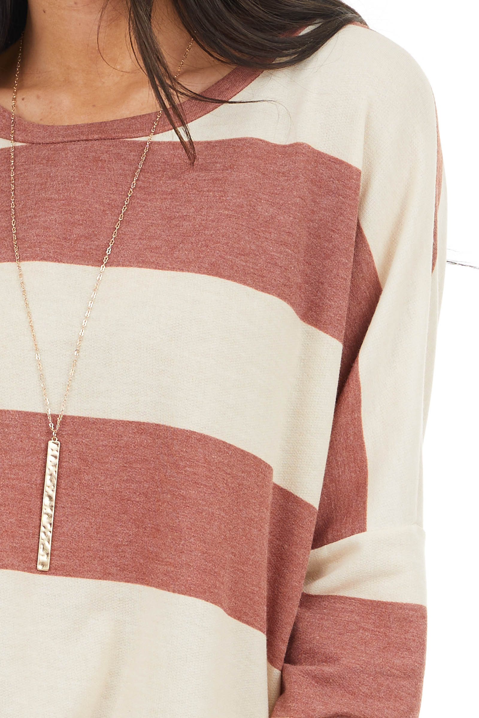 Vintage Rust and Cream Striped Drop Shoulder Long Sleeve Top