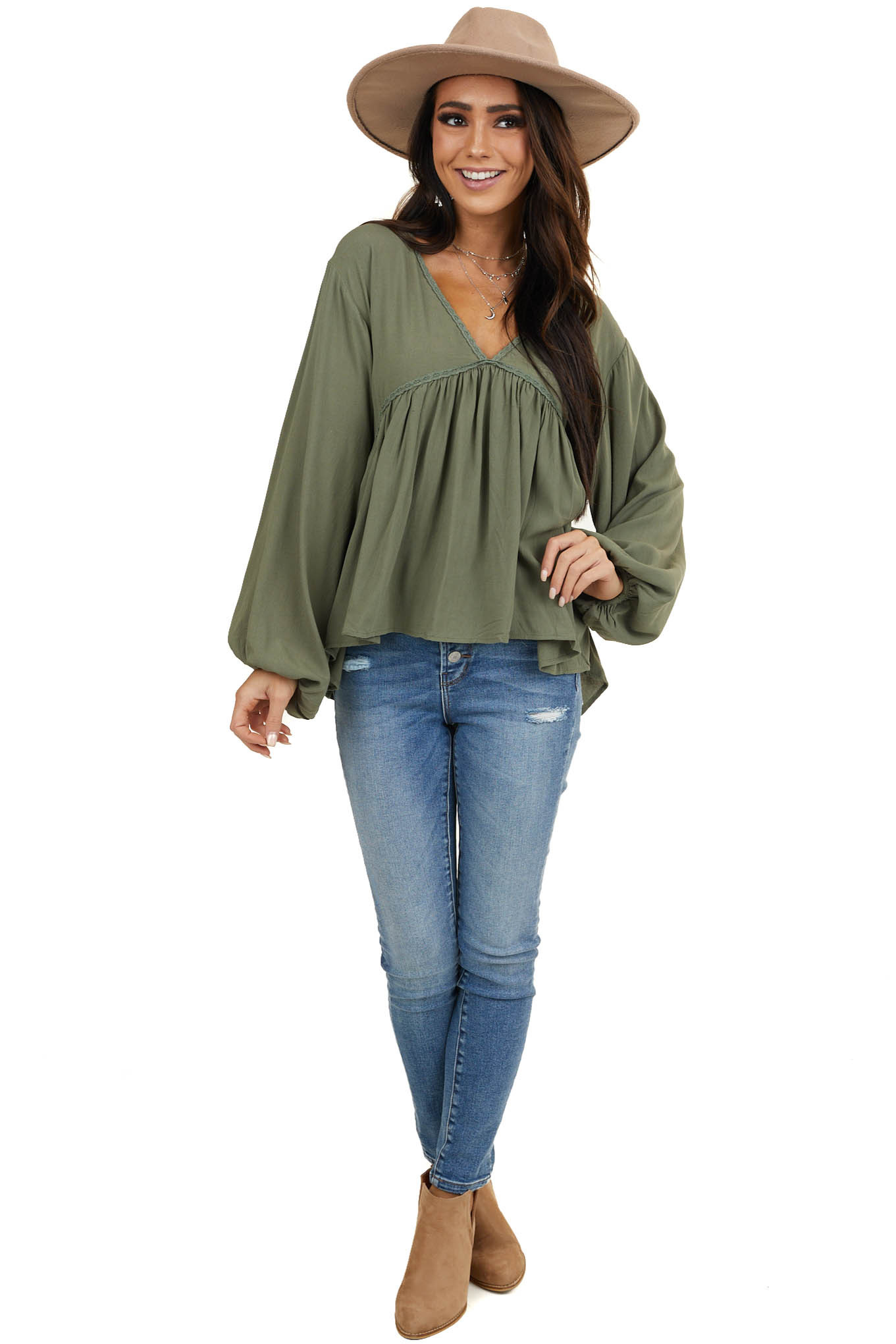 Faded Olive Drop Waist Top with Tied Back and Bubble Sleeves