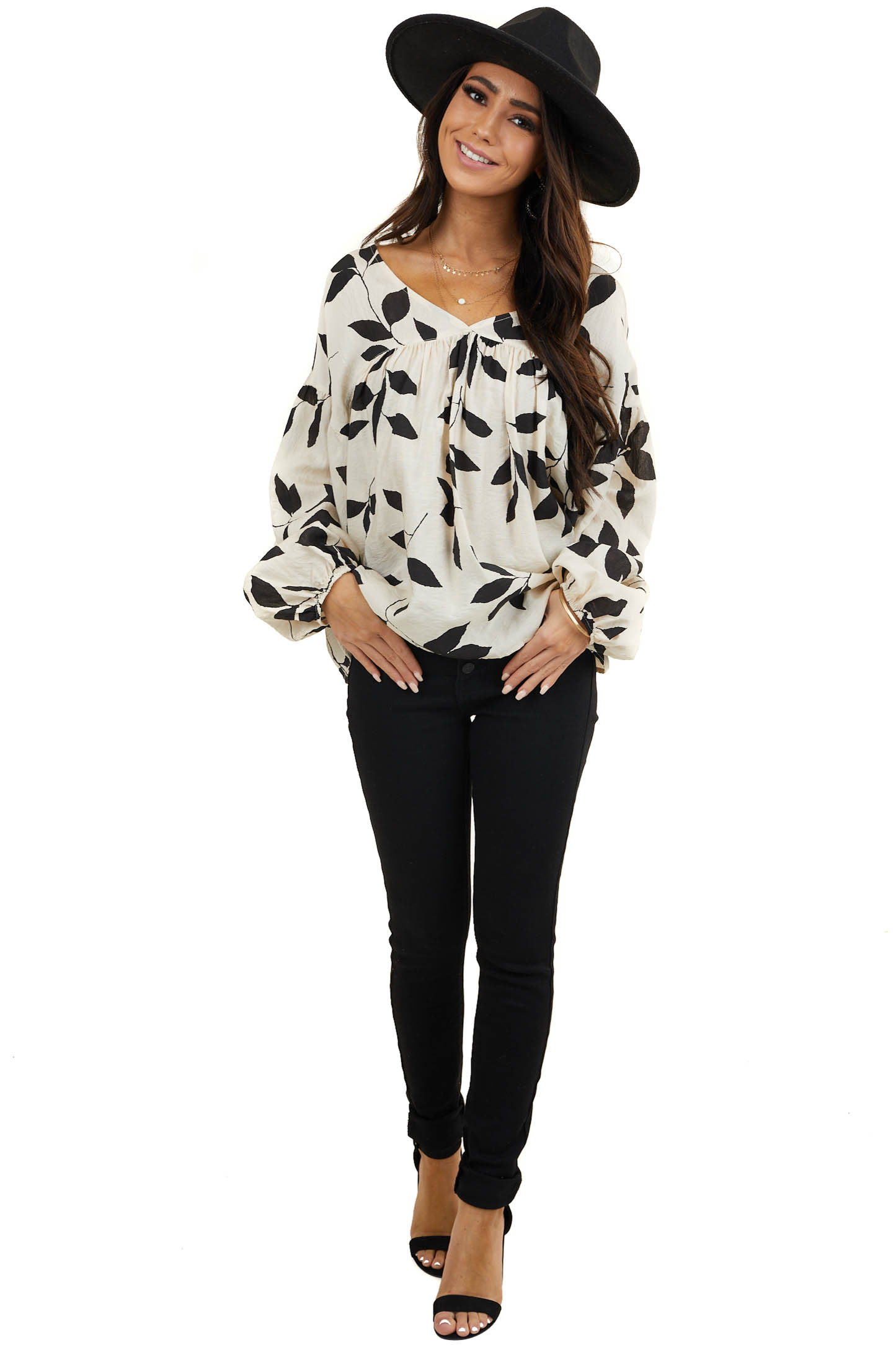 Cream Leaf Print Long Sleeve Woven Top with V Neckline