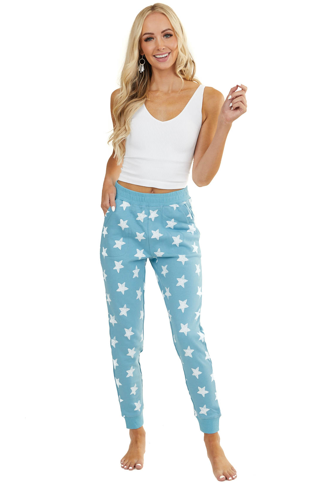 Powder Blue Star Print Elastic Waist Joggers with Pockets