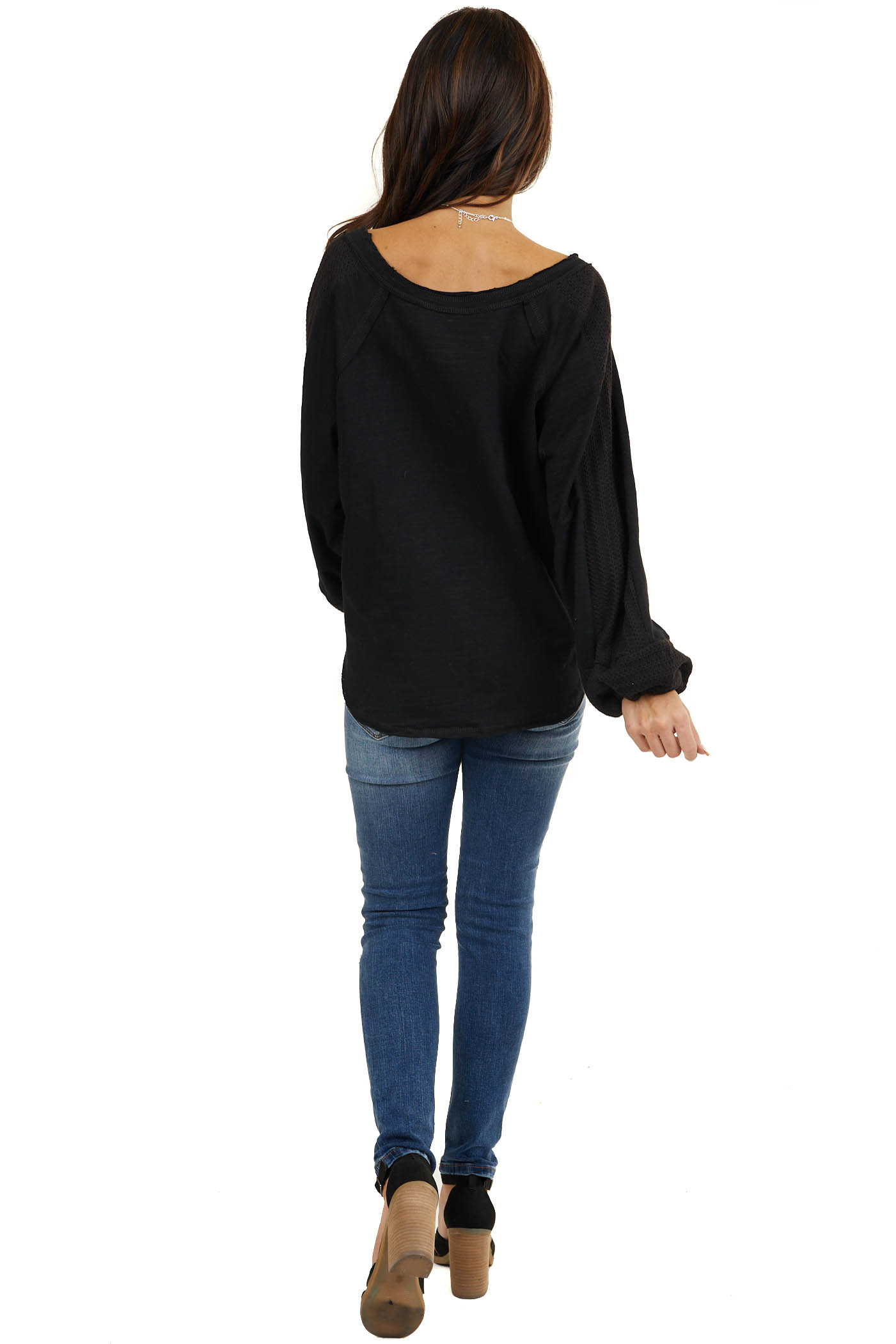 Heathered Black Knit Top with Contrast Knit Bubble Sleeves