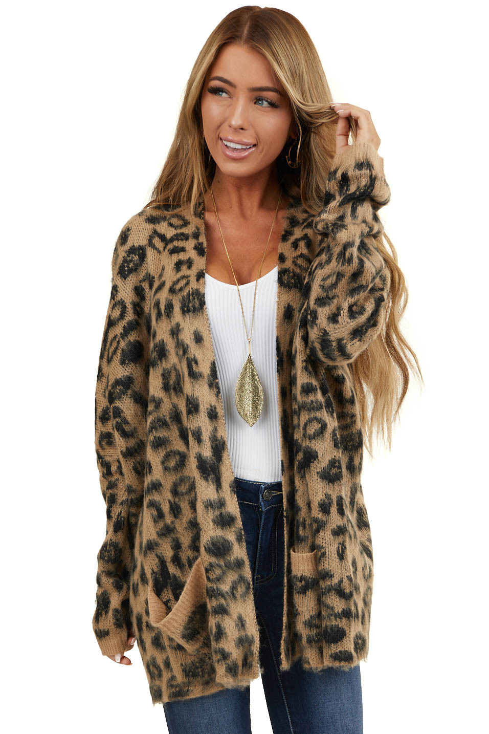 Latte Leopard Print Soft Knit Cardigan with Pockets