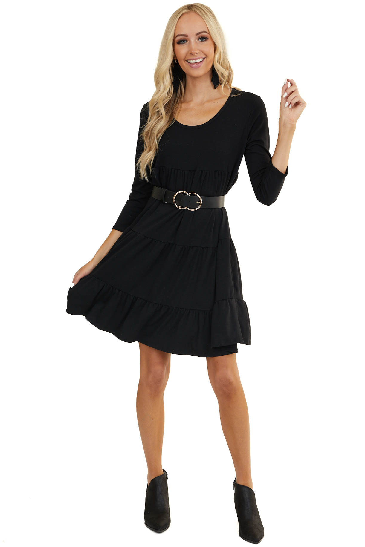 Black Tiered Short Knit Dress with 3/4 Length Sleeves