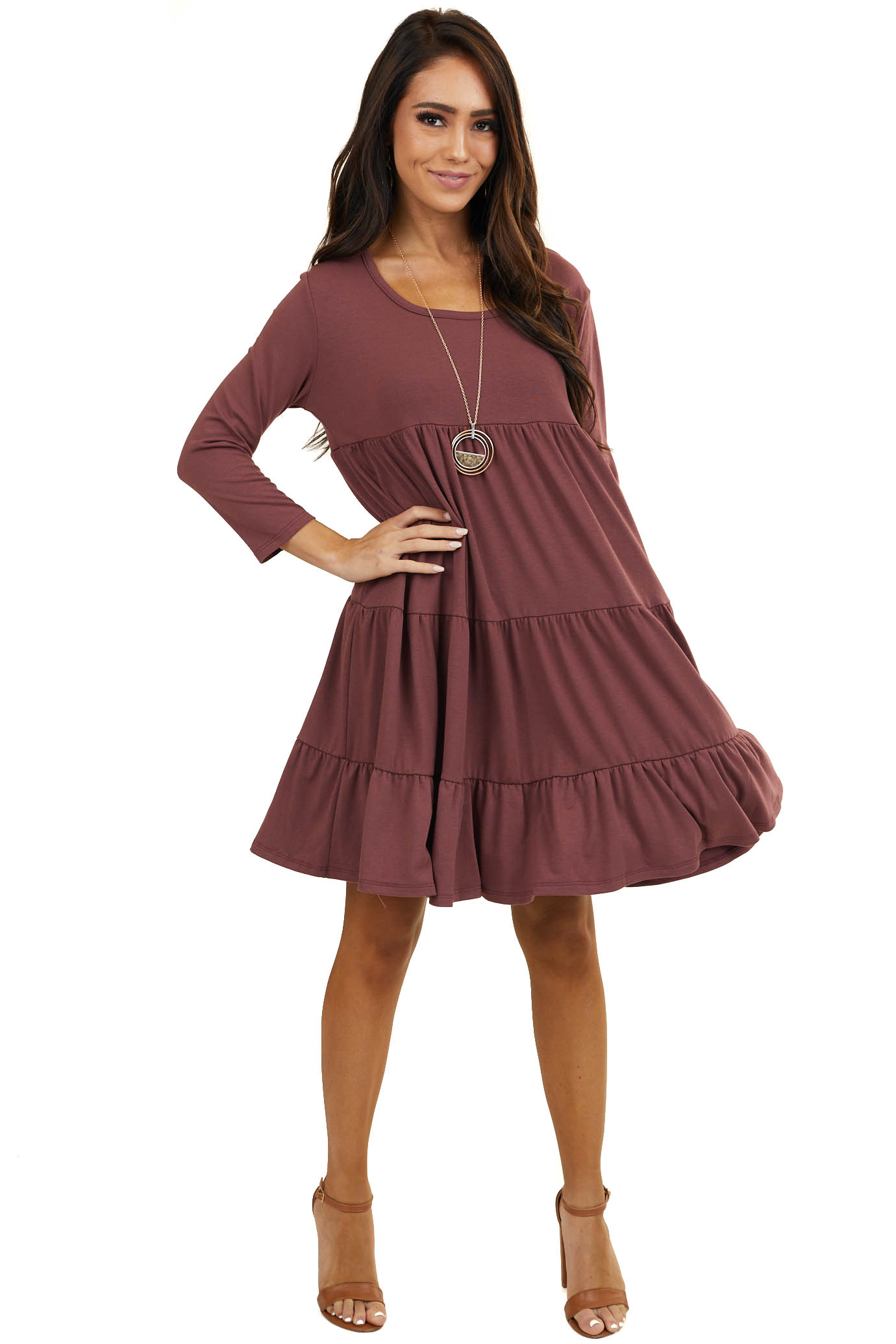 Mauve Tiered Short Knit Dress with 3/4 Length Sleeves