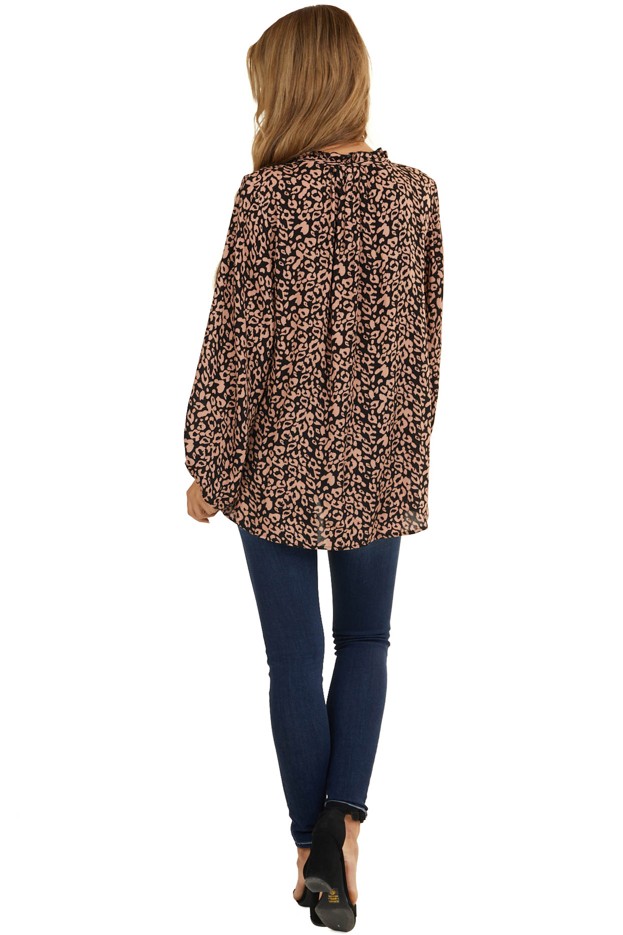 Latte Leopard Long Sleeve Top with Front Keyhole Detail