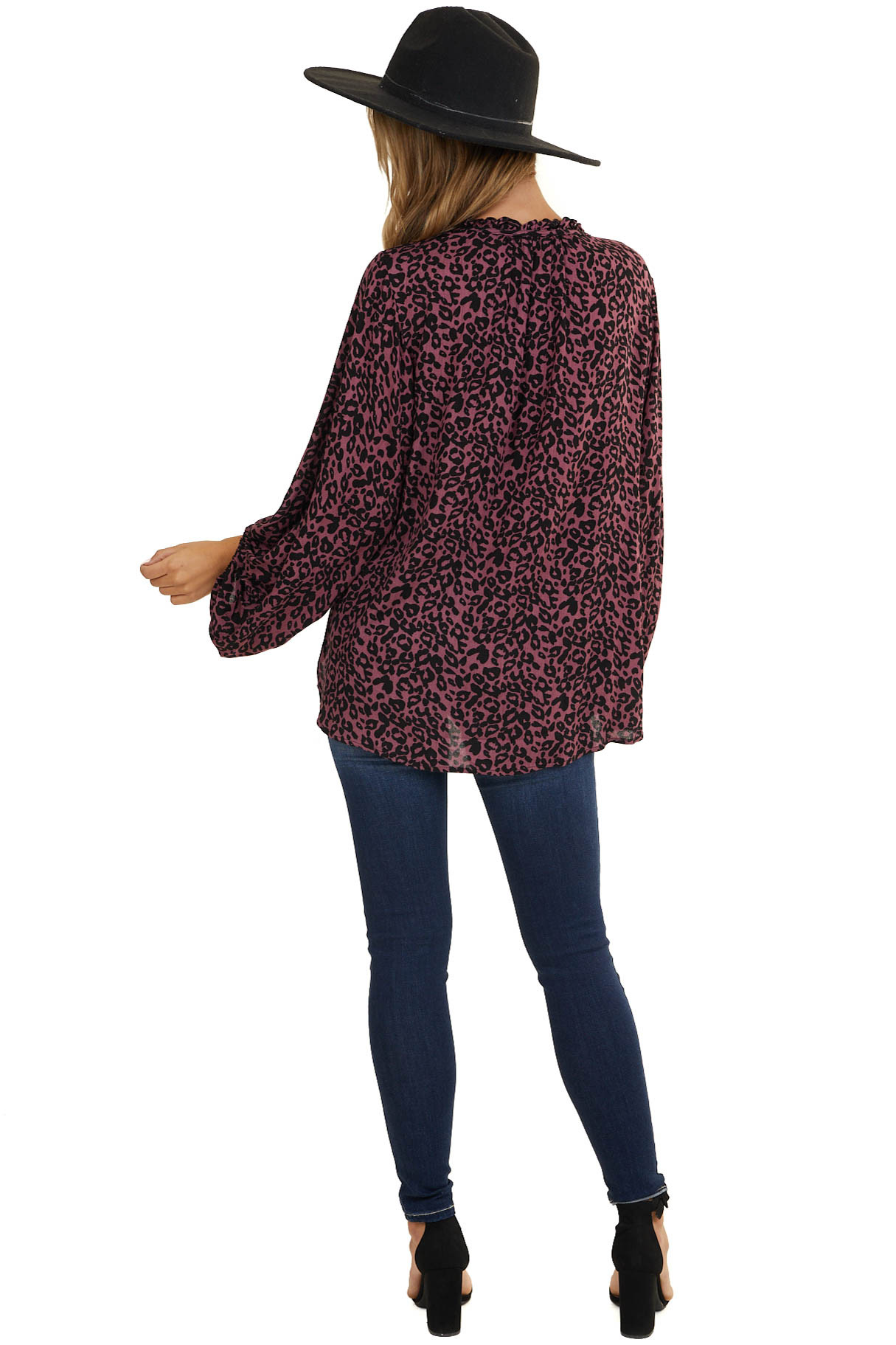 Plum Leopard Long Sleeve Top with Front Keyhole Detail