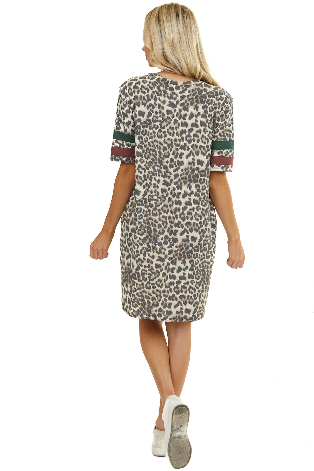Beige Leopard Print Dress with Contrast Sleeve and Pockets