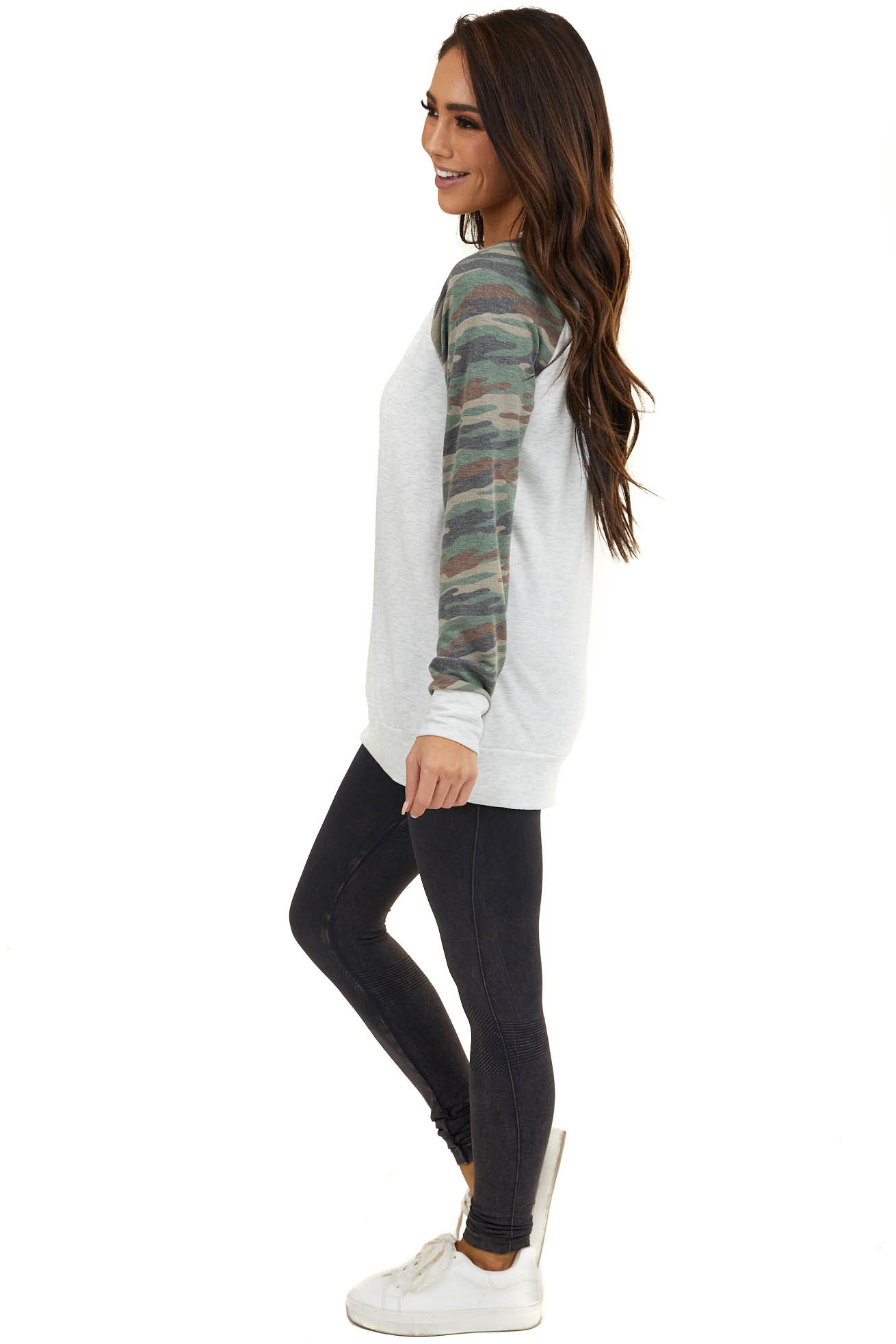 Light Grey French Terry Knit Top with Camo Contrast Sleeves