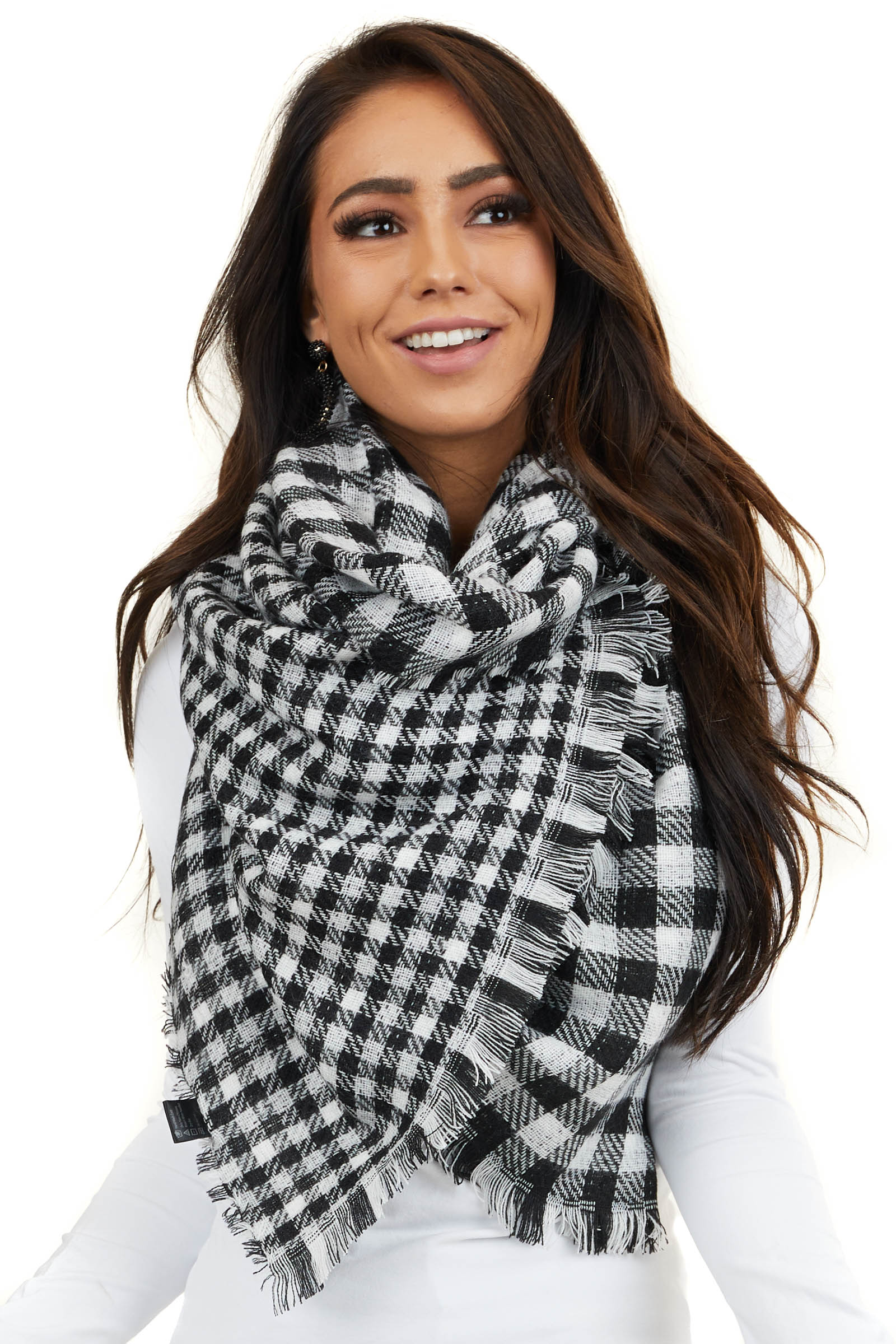 Black and White Buffalo Plaid Long Scarf with Frayed Hemline