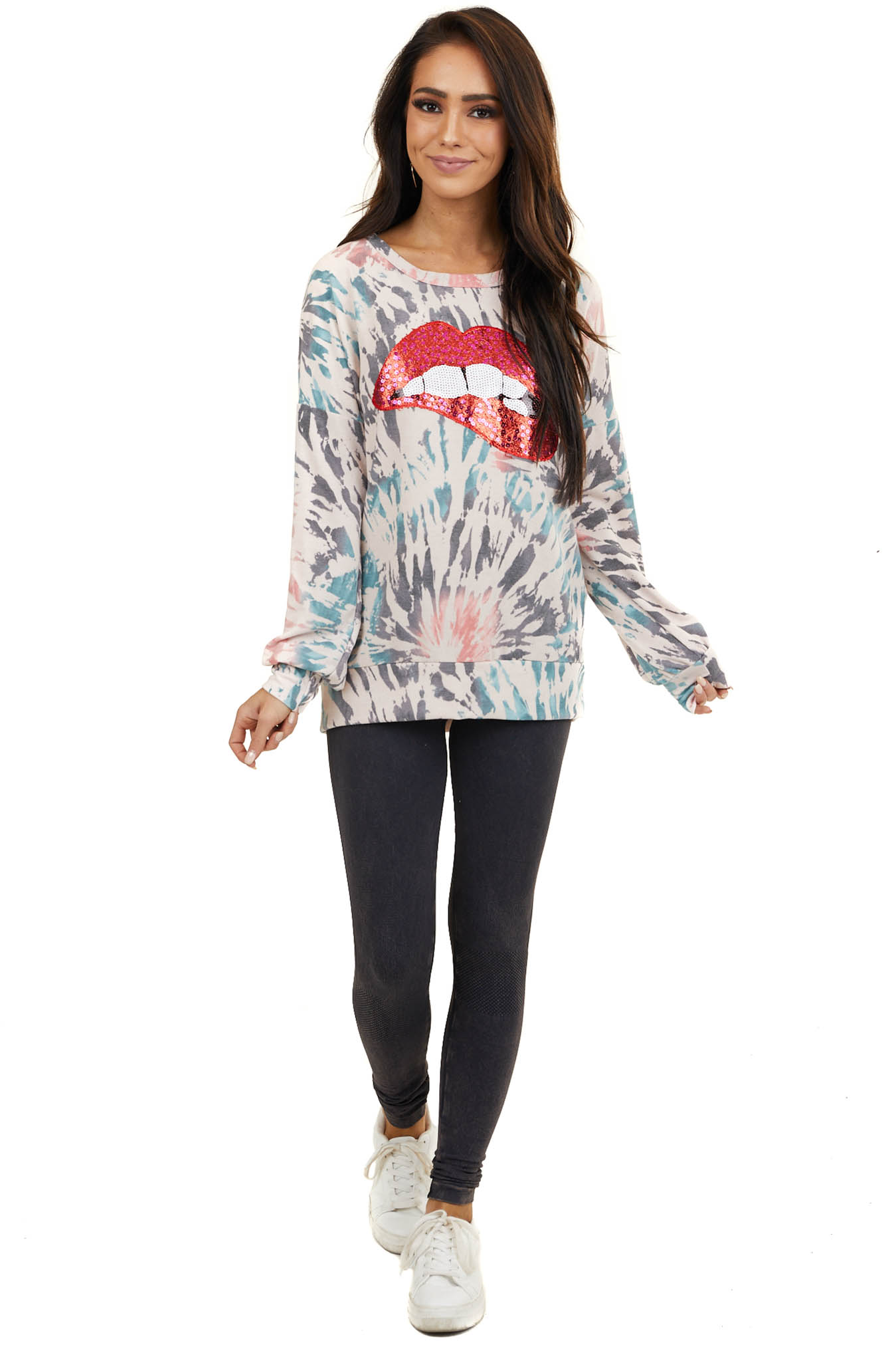 Blush Multi Color Tie Dye Top with Red Sequin Lip Graphic