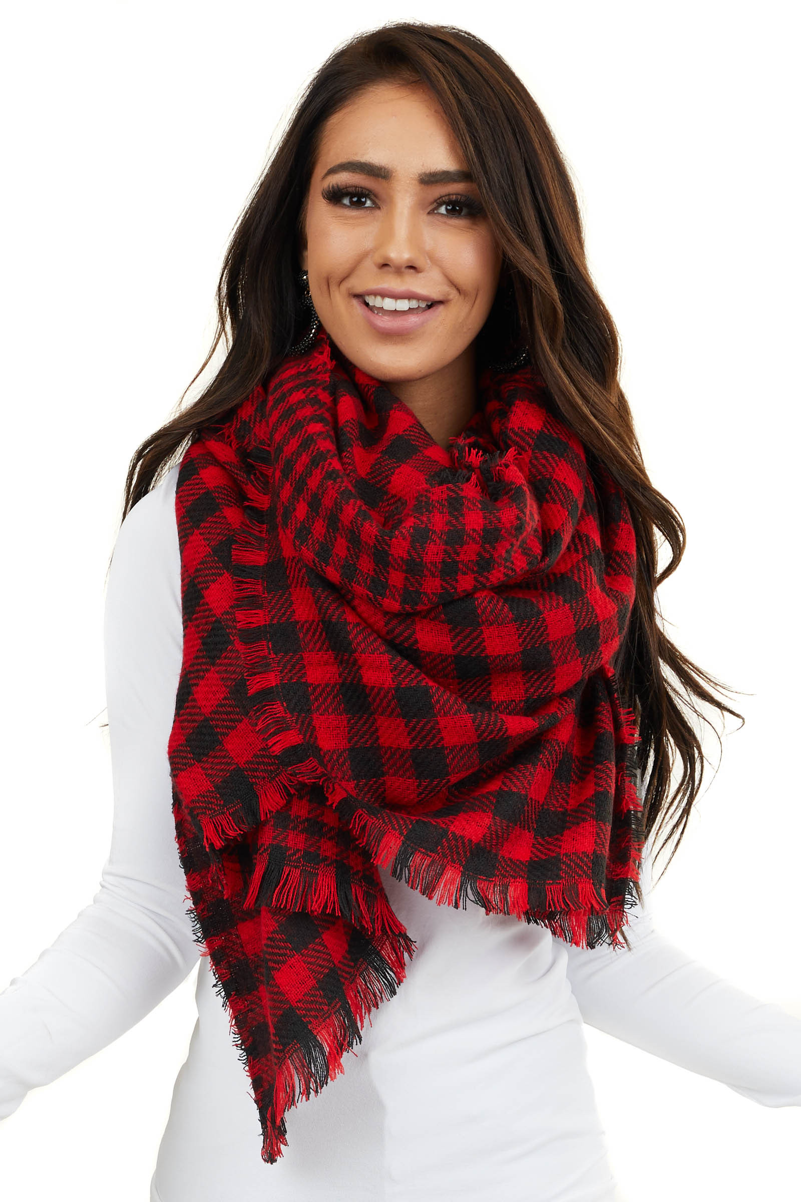 Black and Red Buffalo Plaid Long Scarf with Frayed Hemline