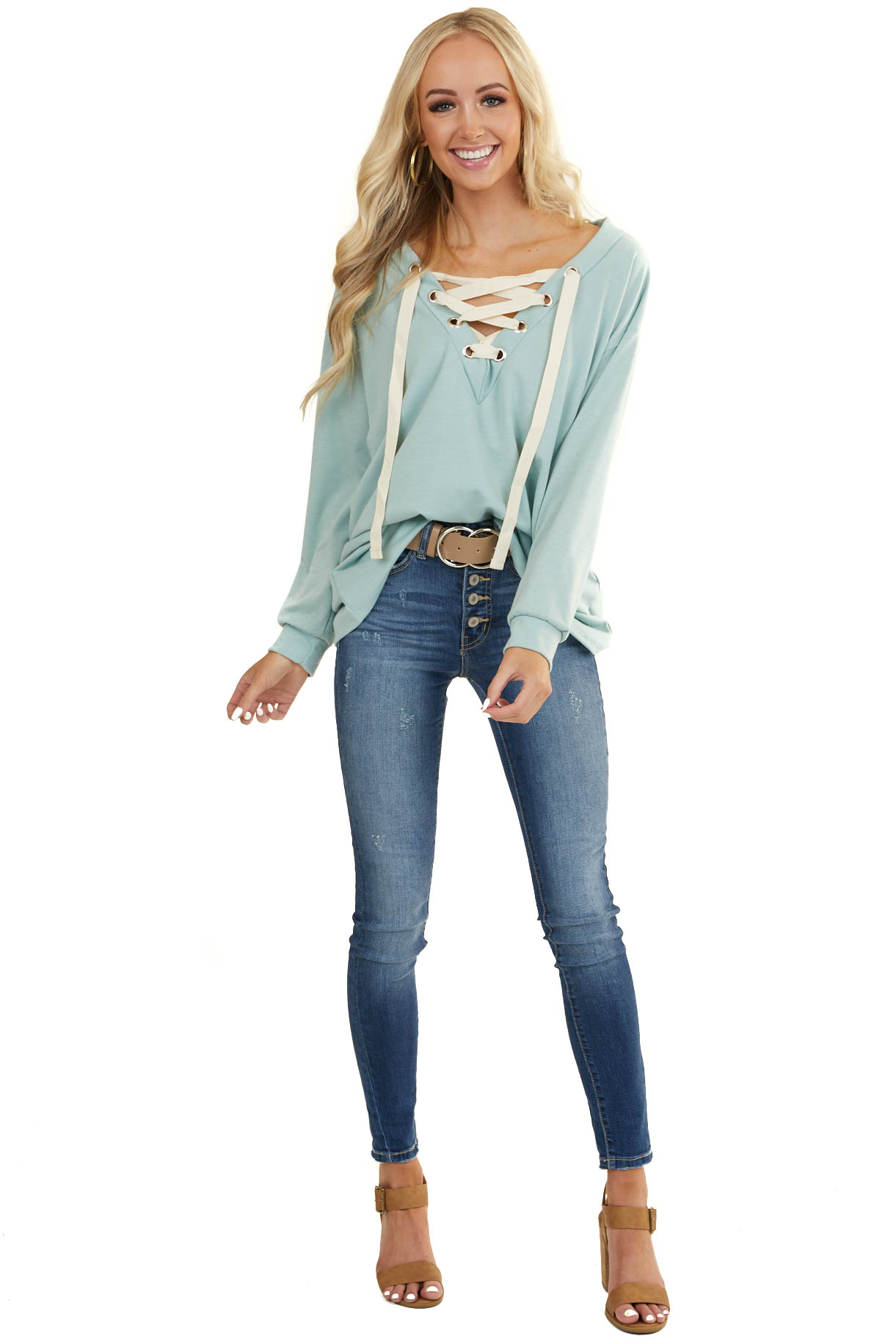 Seafoam Long Sleeve Top with Lace Up Deep V Neckline