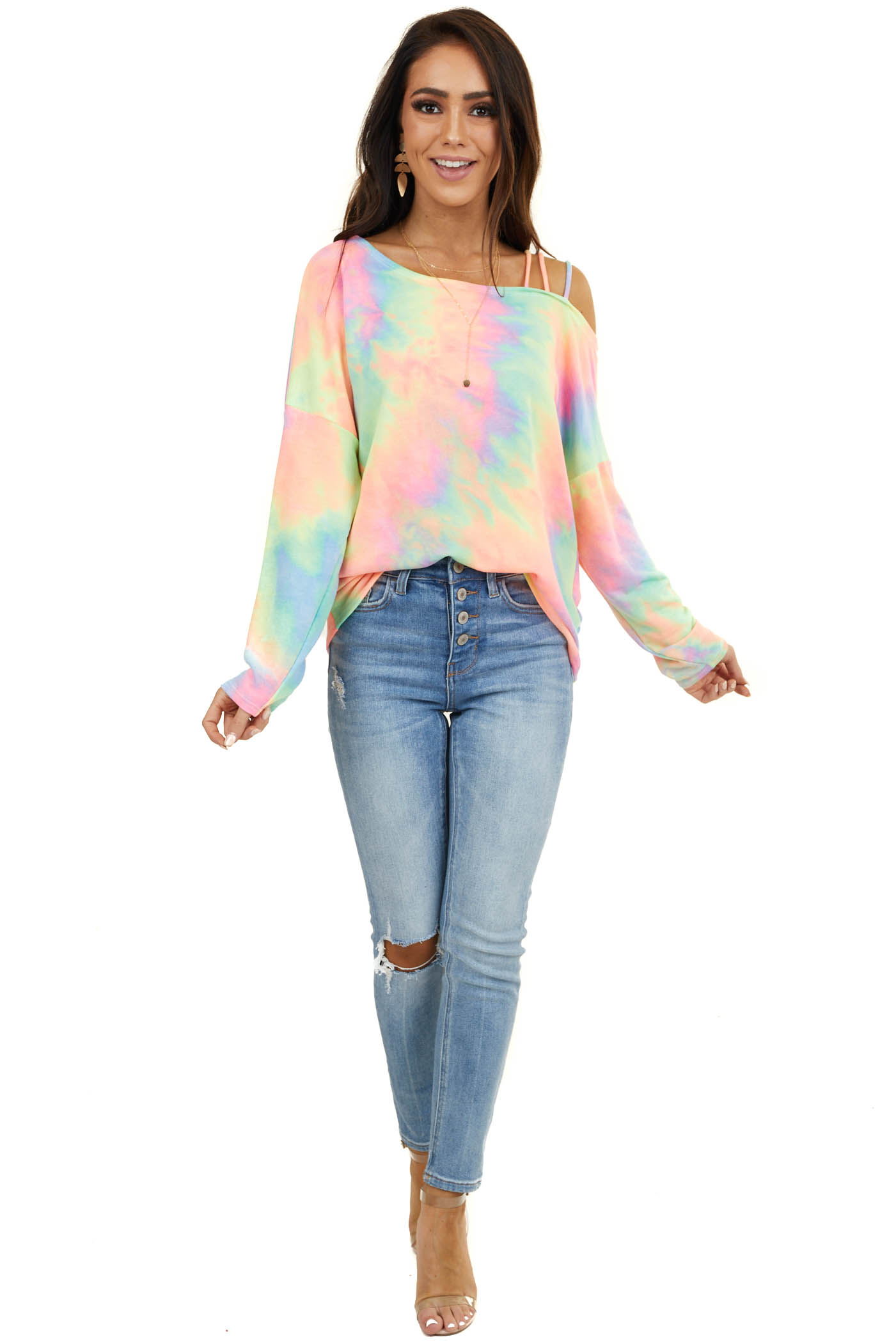 Neon Multi Color Tie Dye Top with Cold Shoulder and Straps