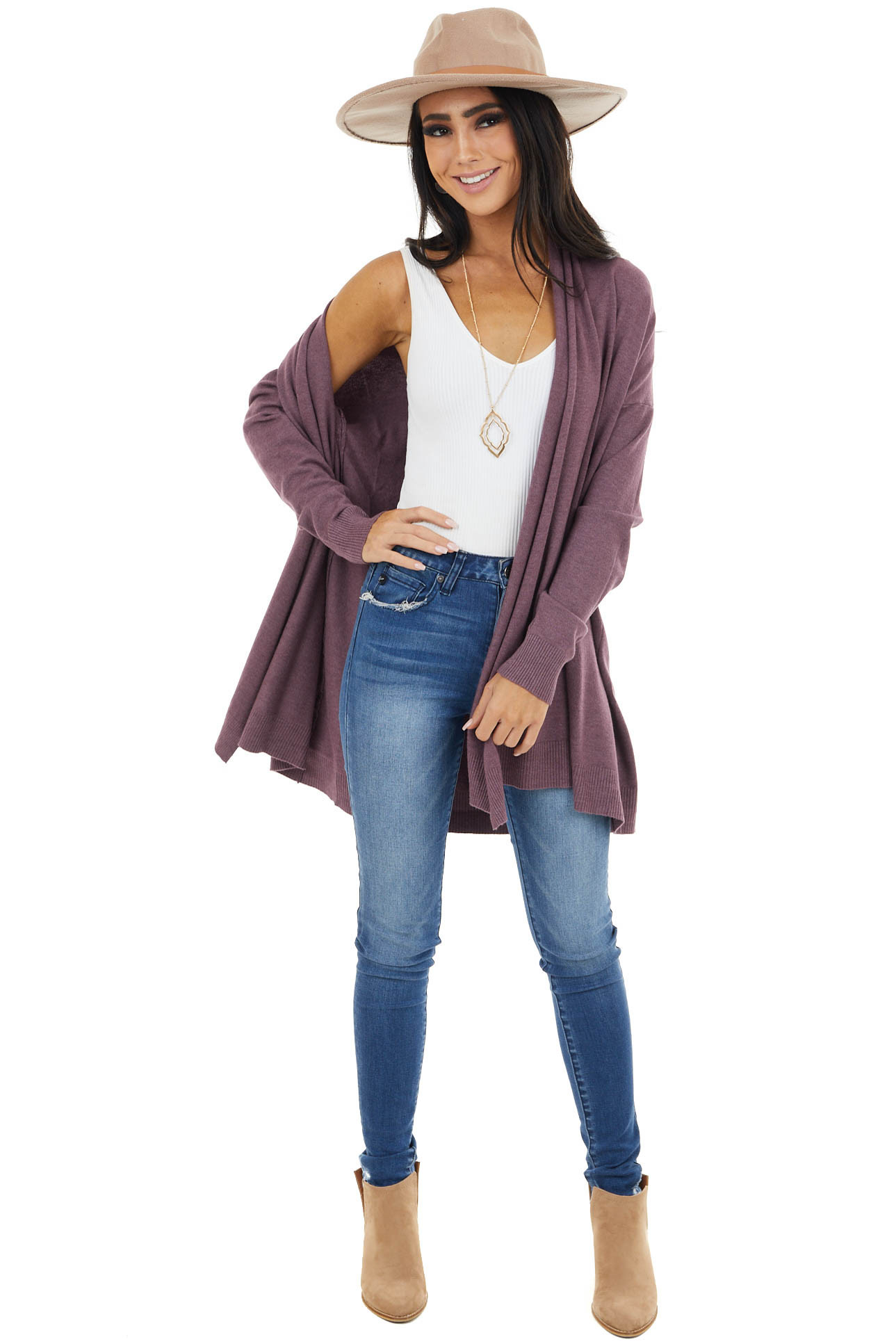 Light Plum Soft Open Front Cardigan with Draped Neckline