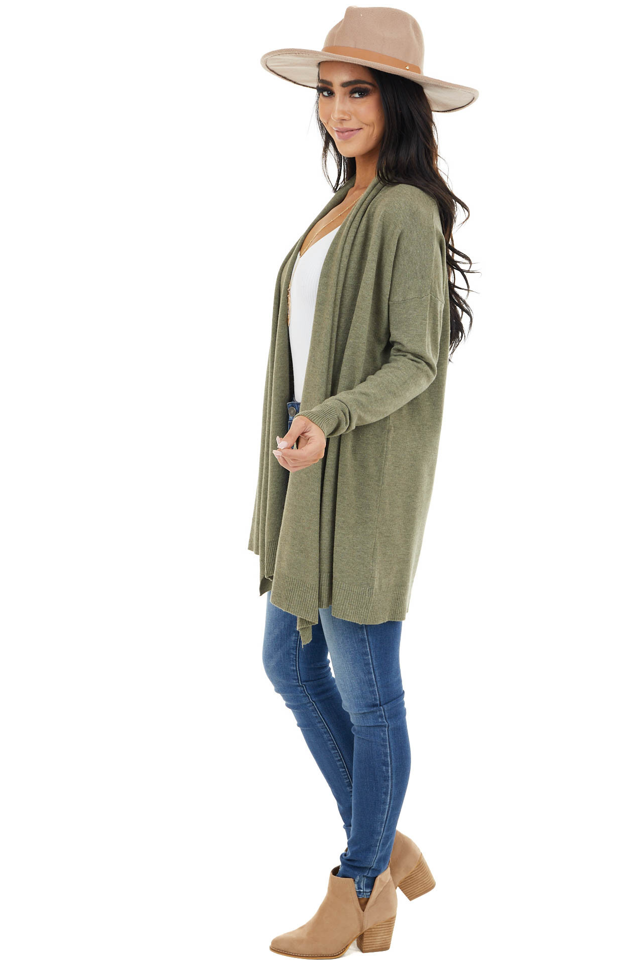 Olive Soft Open Front Cardigan with Draped Neckline