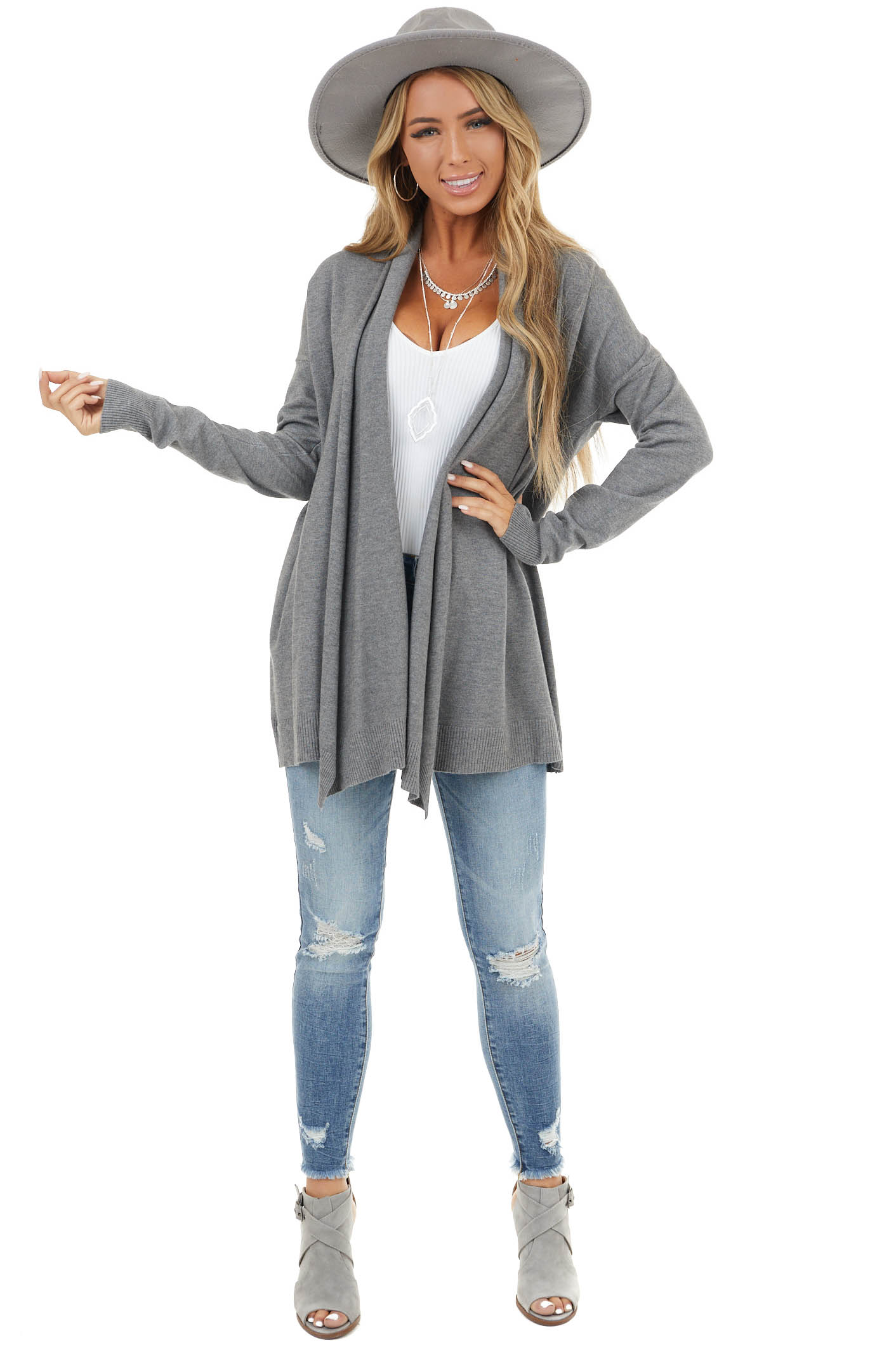 Ash Grey Soft Open Front Cardigan with Draped Neckline