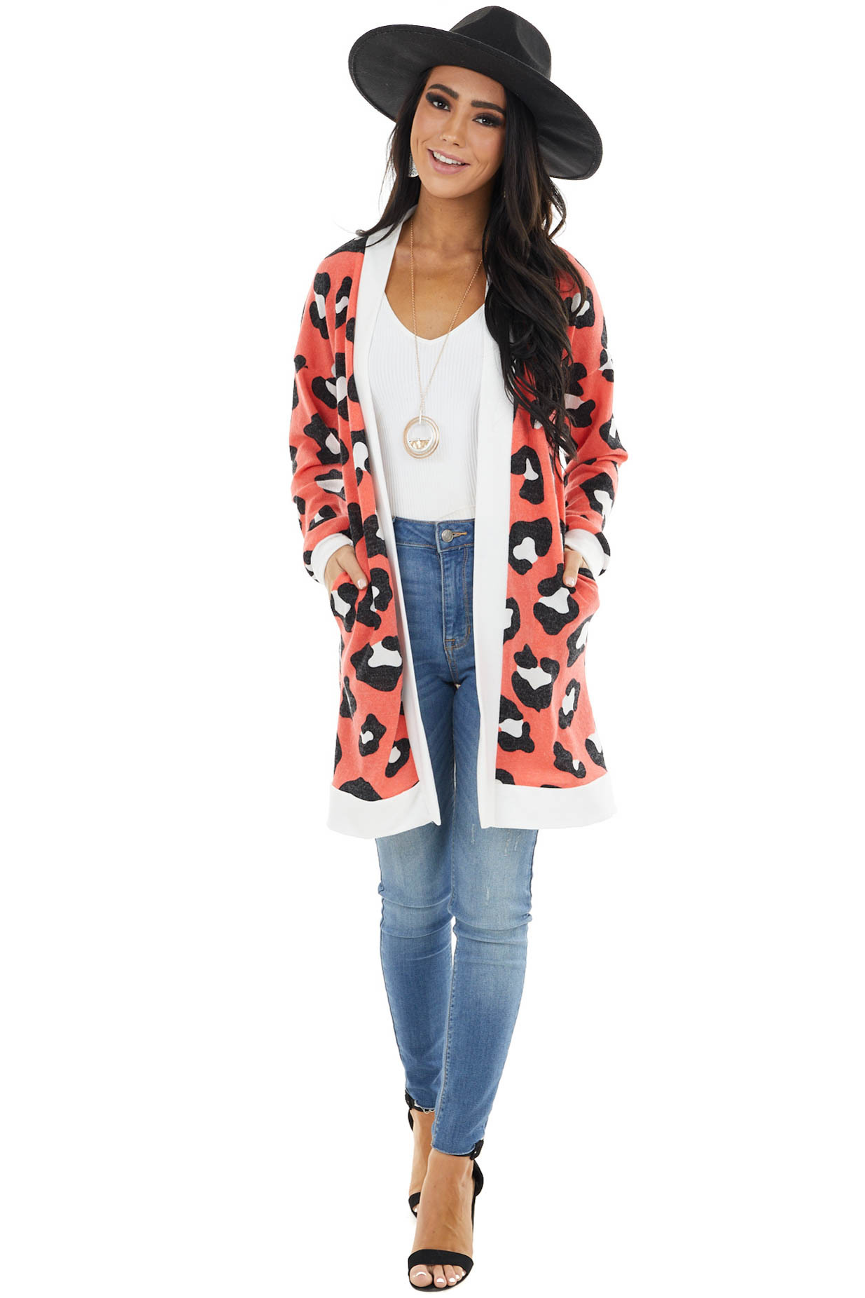 Bright Coral Leopard Print Cardigan with White Contrast