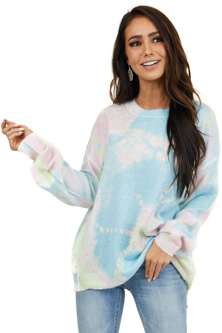 Baby Blue Tie Dye Lightweight Sweater with Shimmer Detail
