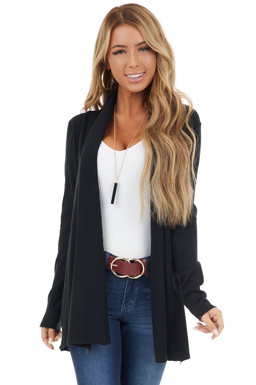 Black Light Draped Open Front Cardigan with Fitted Sleeves