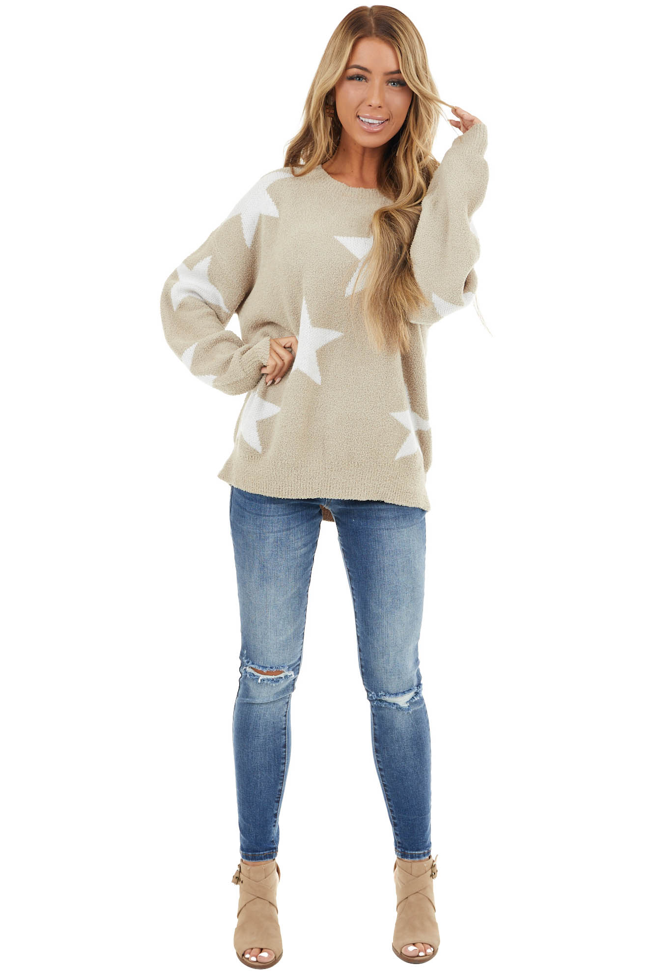 Beige Oversized Long Sleeve Sweater with Star Details