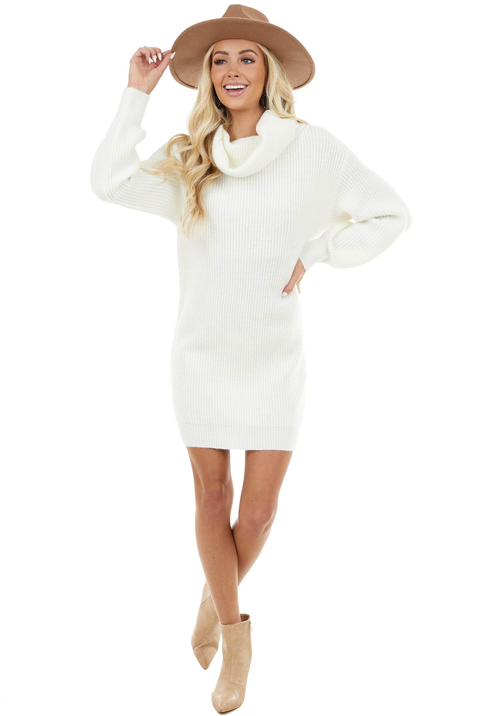 Ivory Ribbed Sweater Dress with Cowl Neck and Bubble Sleeves