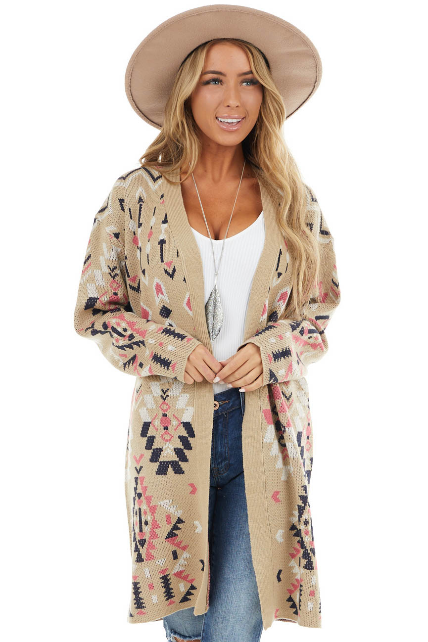 Latte Aztec Print Knit Cardigan with Open Front