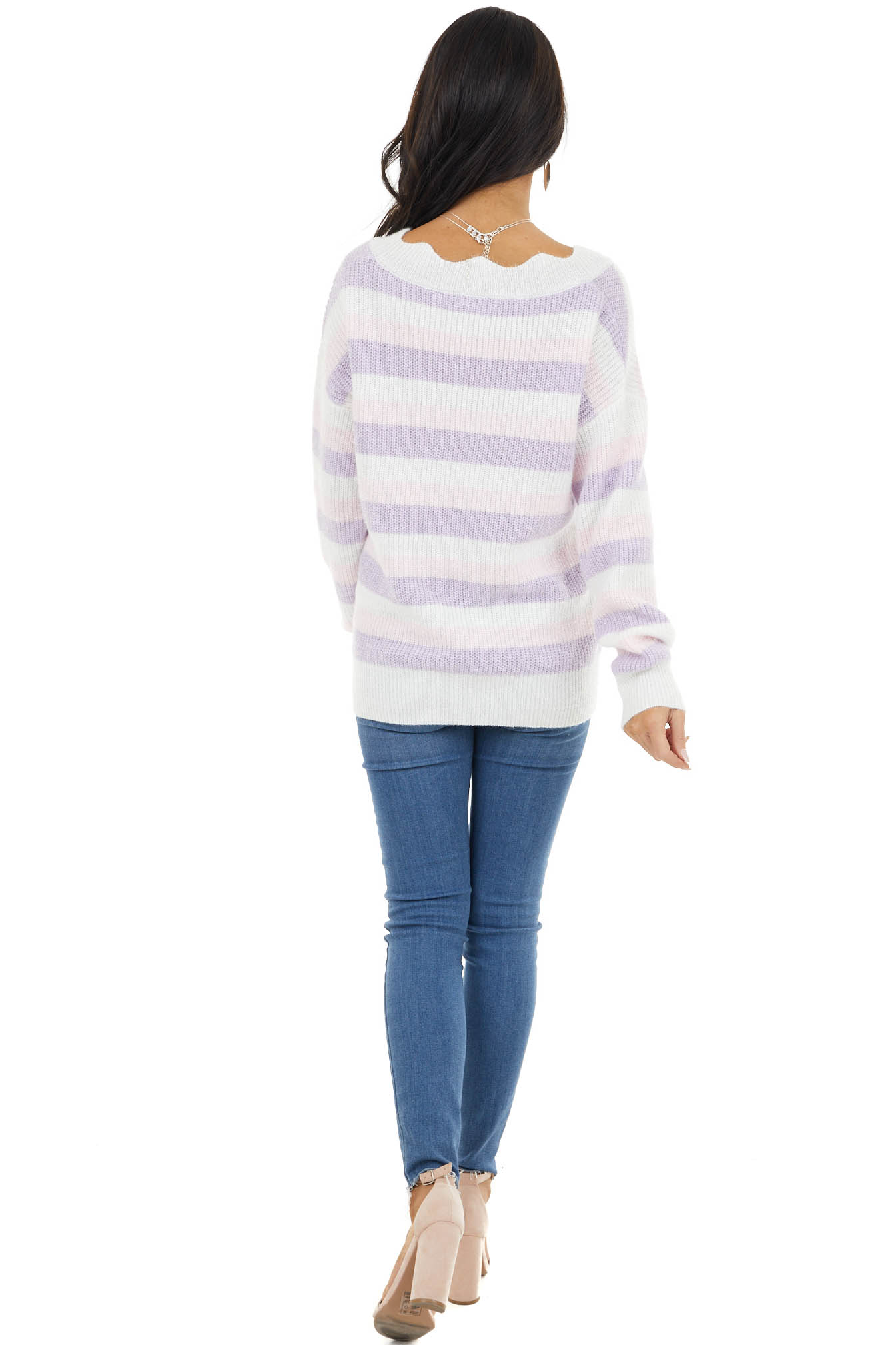 Lavender and Blush Sparkly Knit Sweater with Scalloped Neck