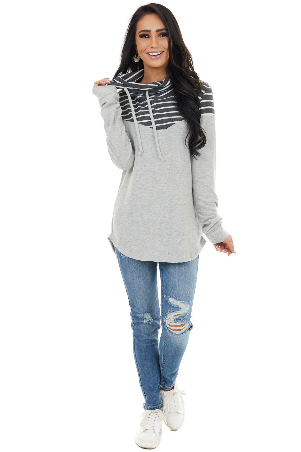 Dove Grey Cowl Neck Long Sleeve Top with Stripe Contrast