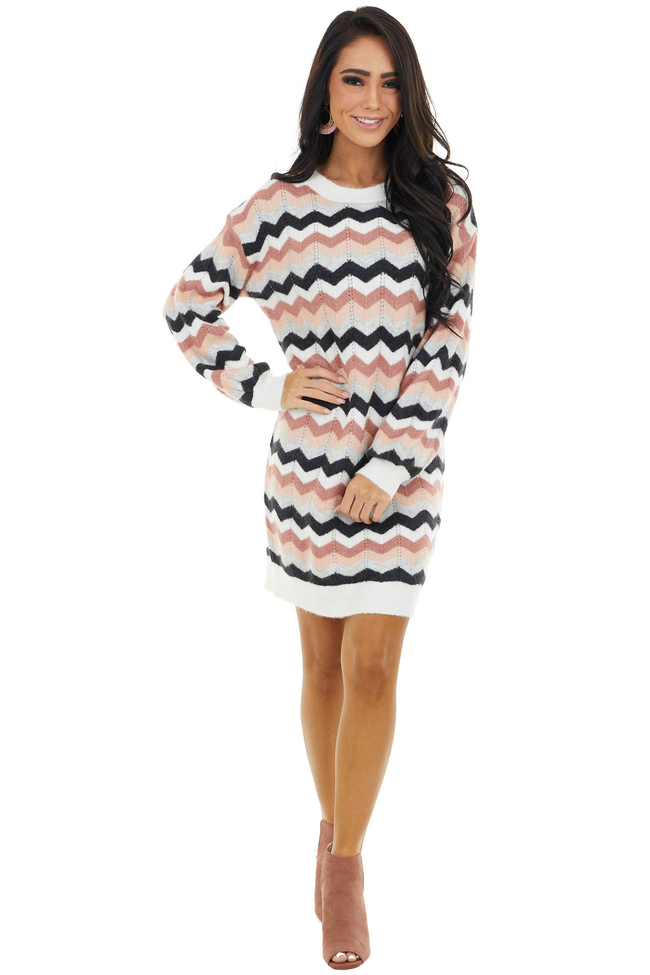 Mauve Chevron Print Sweater Dress with Bubble Sleeves