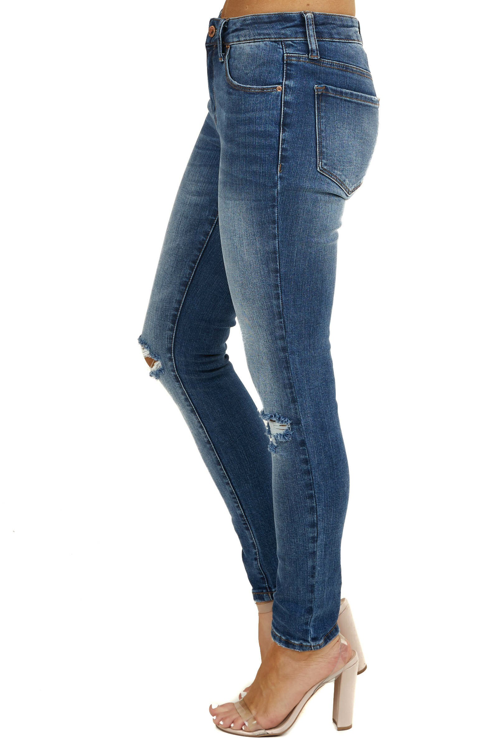 Dark Wash Distressed Mid Rise Skinny Jeans with Faded Detail