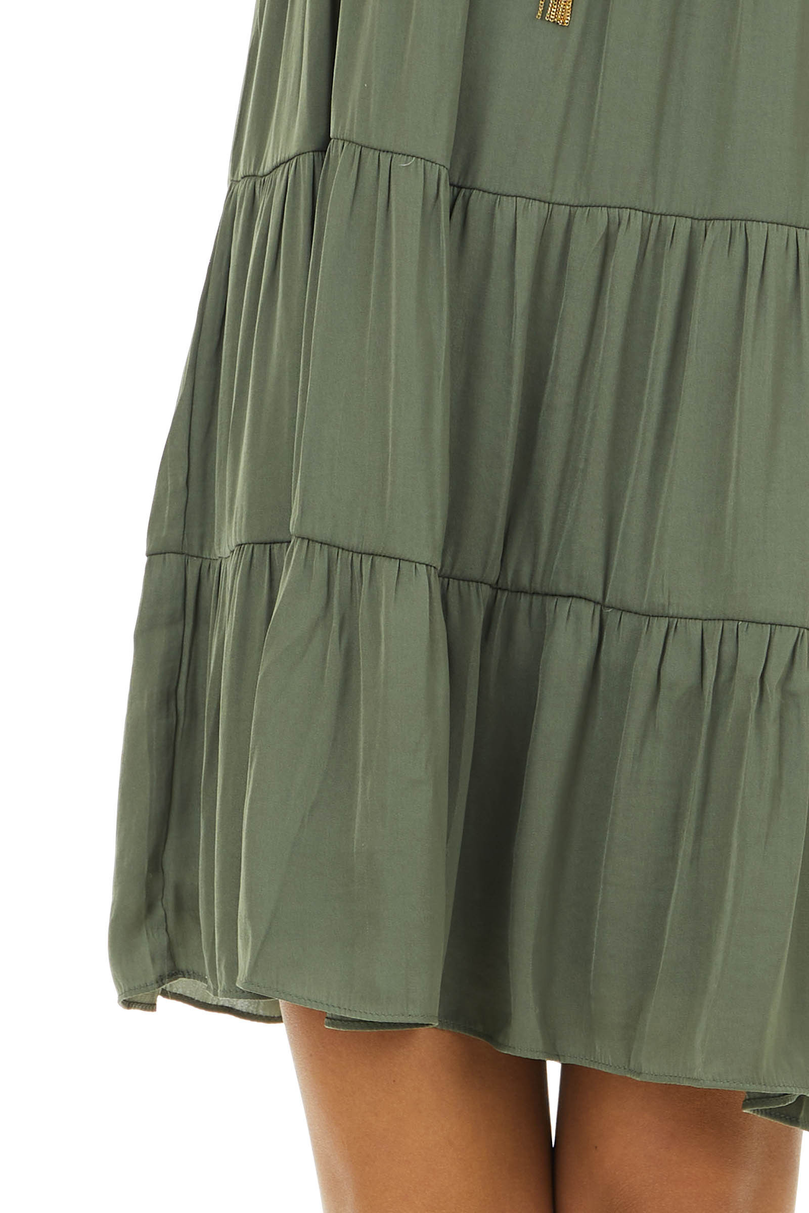 Olive Sleeveless Mini Tiered Dress with Adjustable Straps