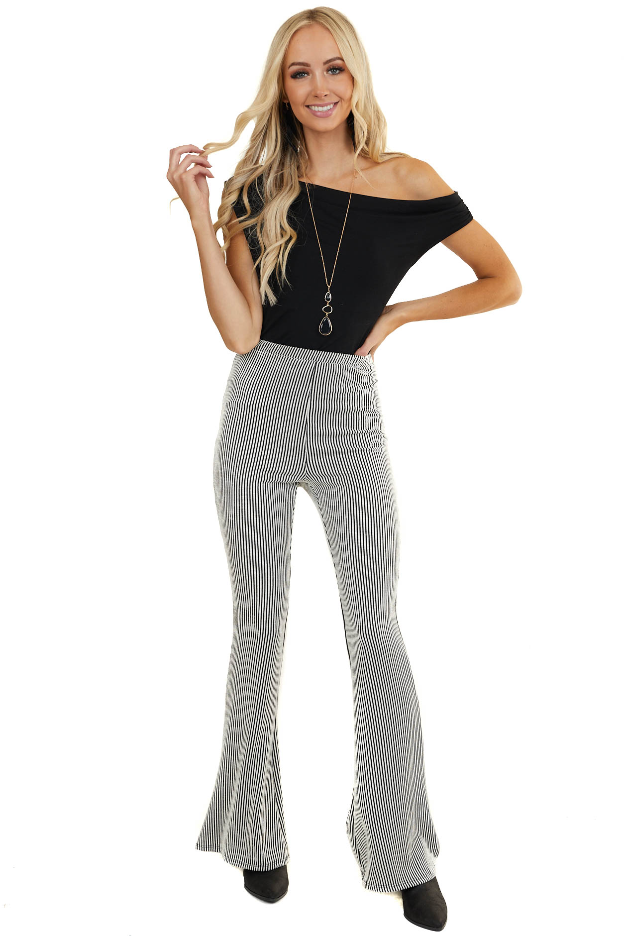 Black and Ivory Vertical Striped High Waisted Flared Pants