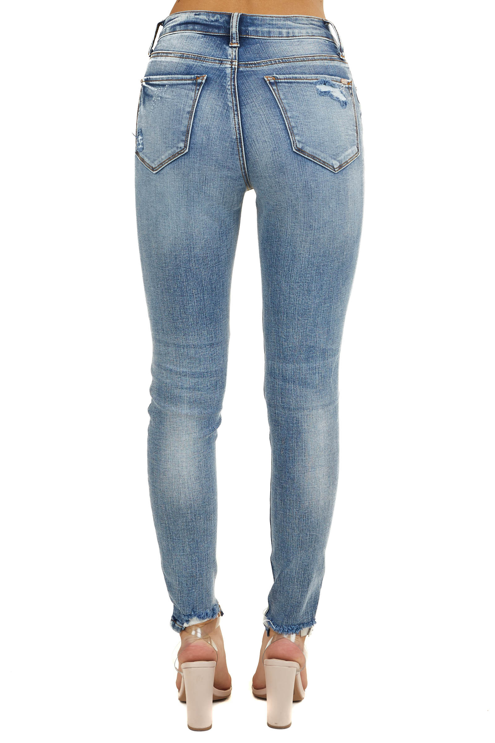 Faded Medium Wash High Rise Distressed Skinny Jeans