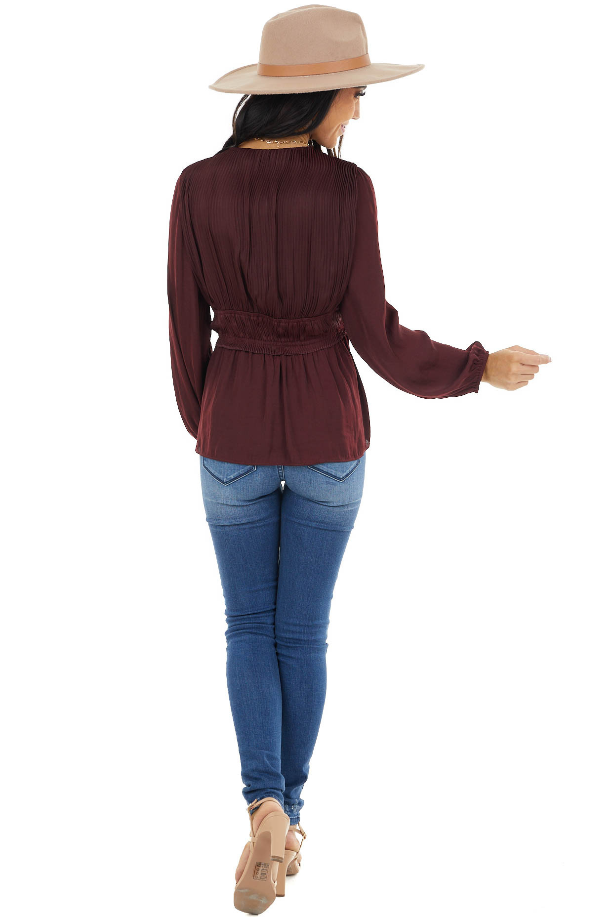 Eggplant Cinch Waist Top with Front Tie and Ruffle Details