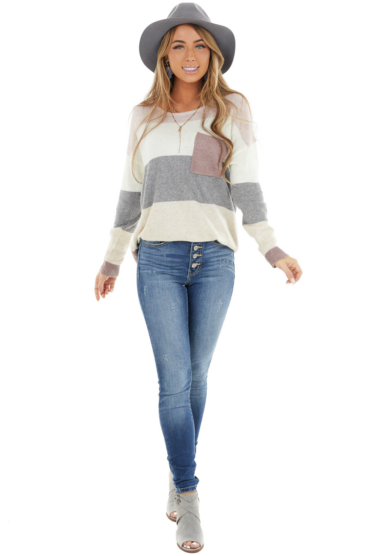 Mauve and Ivory Striped Sweater with Breast Pocket