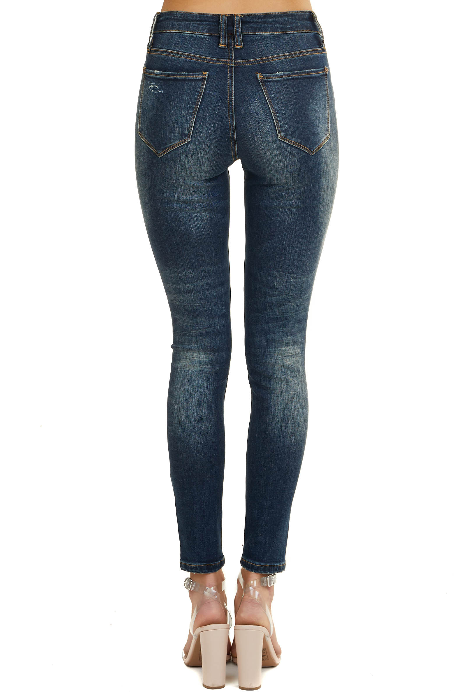 Dark Wash Mid Rise Skinny Jeans with Distressed Cuts