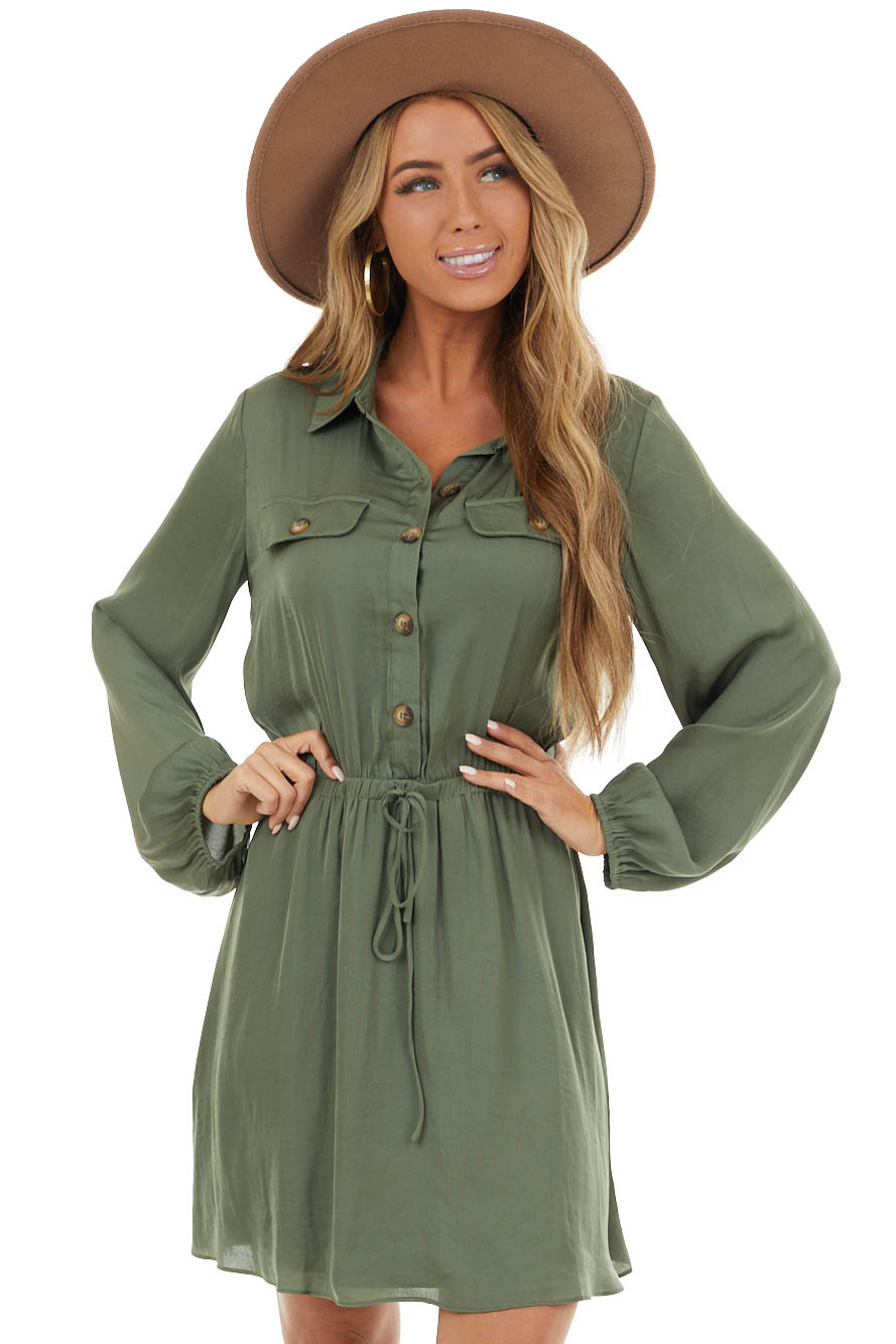 Rich Hunter Green Button Up Collared Dress with Flap Pockets