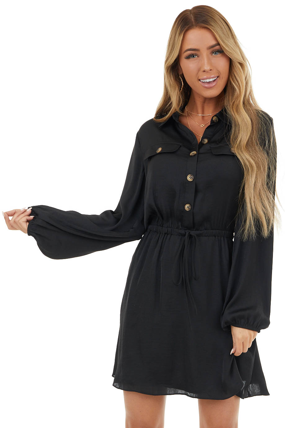 Black Button Up Collared Dress with Flap Pockets