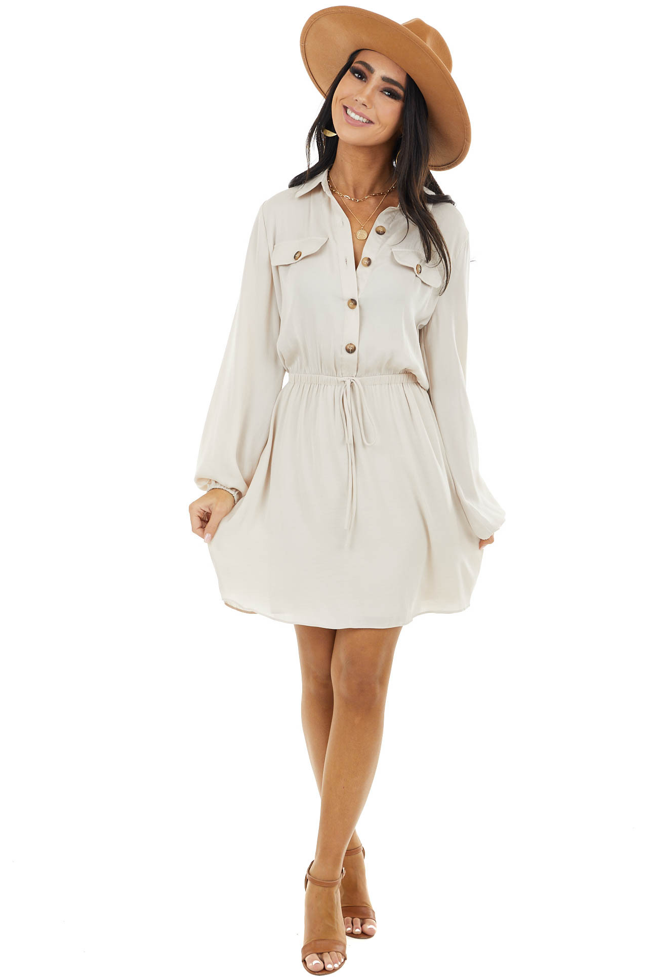 Light Oatmeal Button Up Collared Dress with Flap Pockets