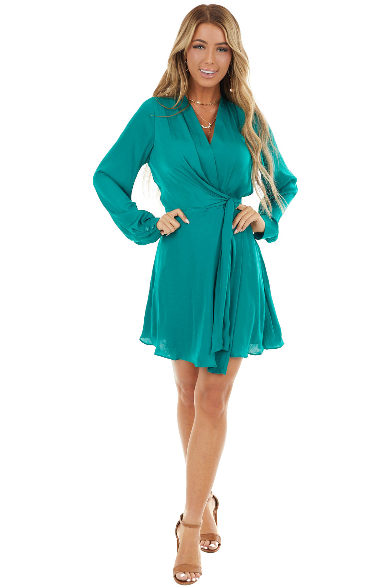 Pine Surplice Short Flare Dress with Tie detail and Buttons