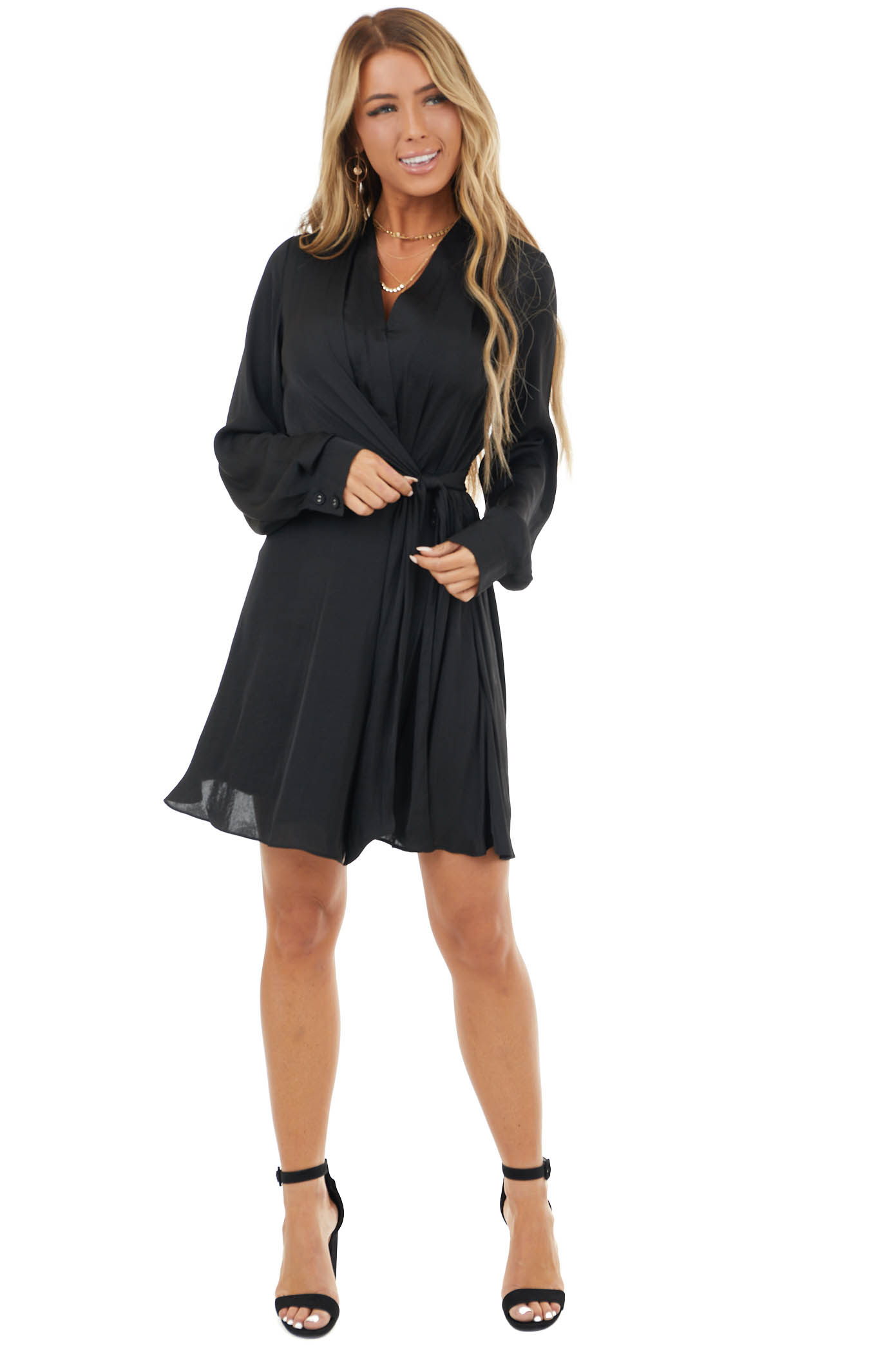 Black Surplice Short Flare Dress with Tie Detail and Buttons