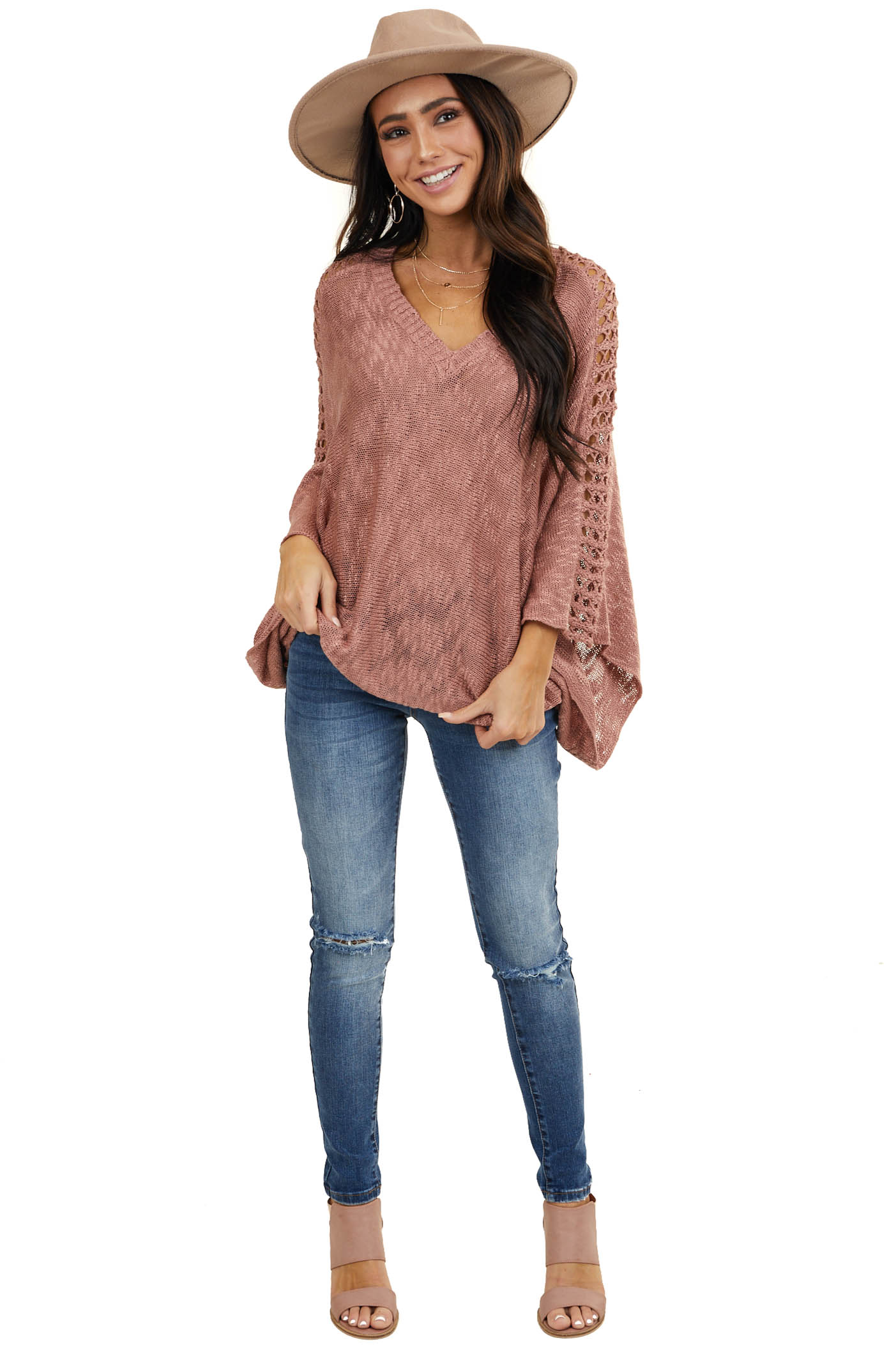 Dusty Rose Sweater with Kimono 3/4 Sleeves and V Neckline