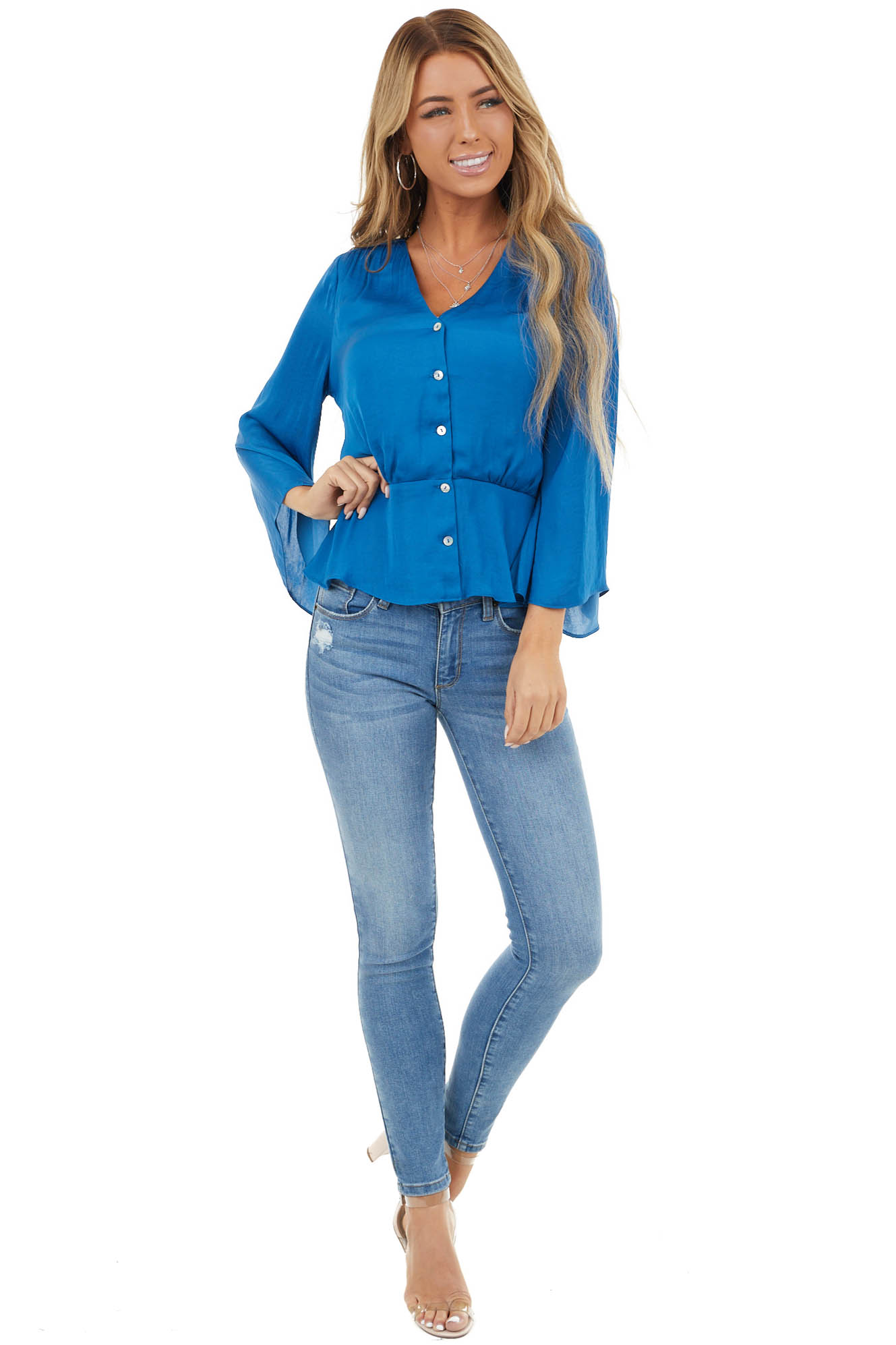 Ocean Blue Button Up Peplum Top with 3/4 Flutter Sleeves