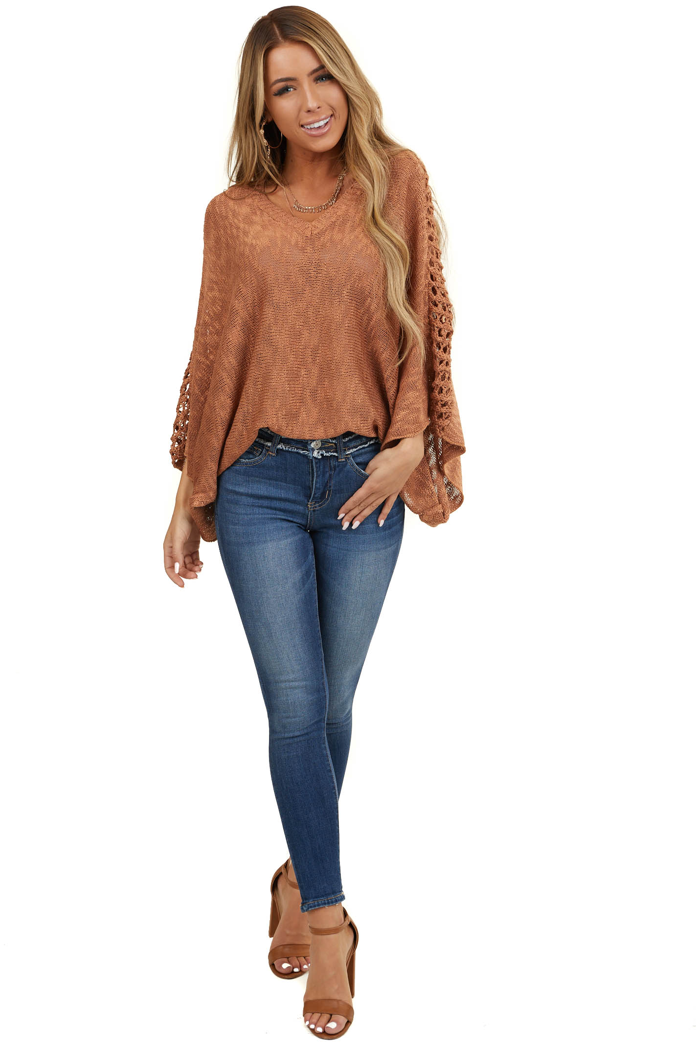Terracotta Sweater with Kimono 3/4 Sleeves and V Neckline