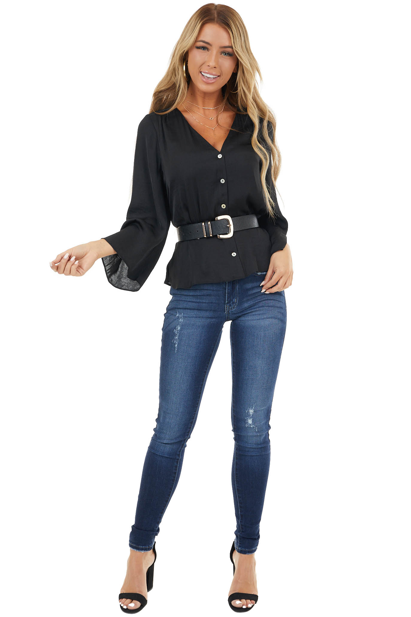 Black Button Up Peplum Top with 3/4 Flutter Sleeves