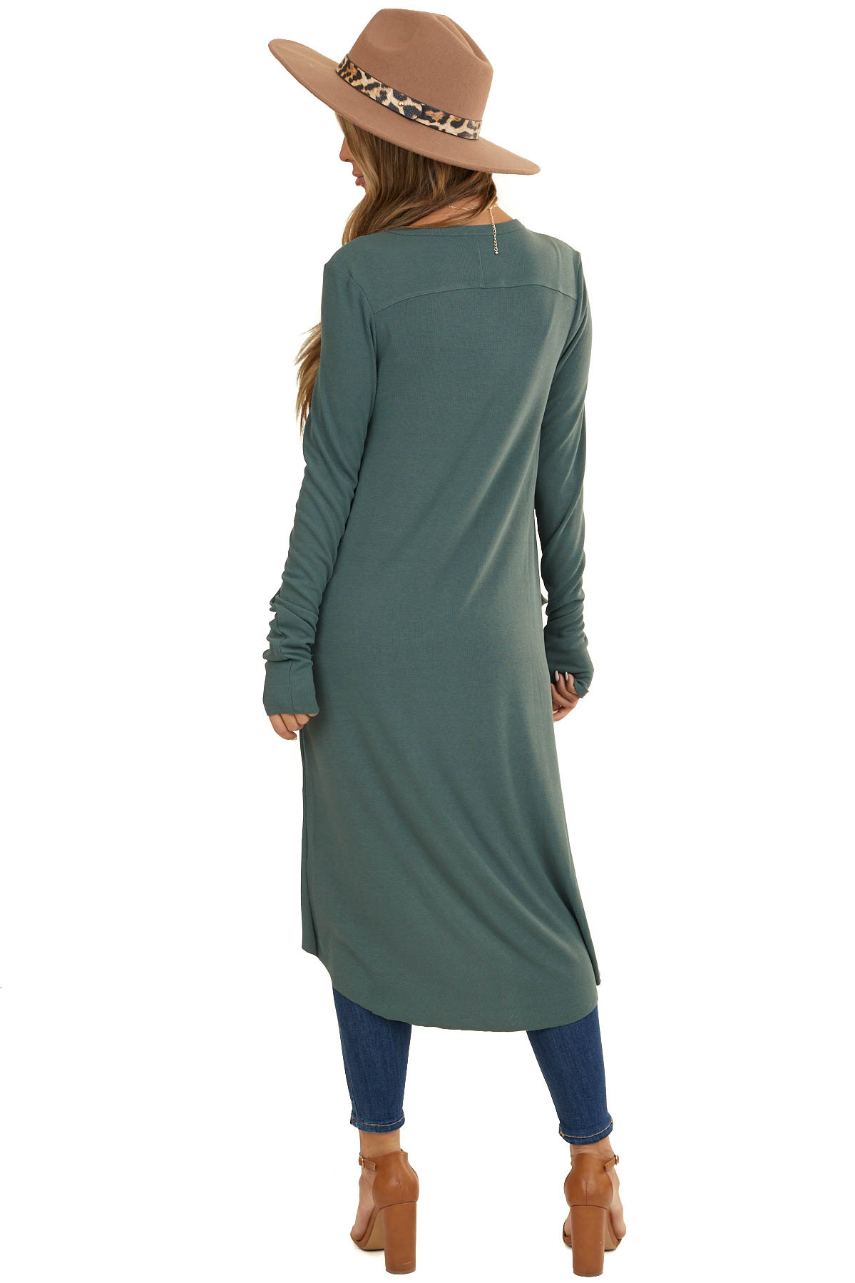 Jade Green Long Sleeve Button Down Duster Cardigan