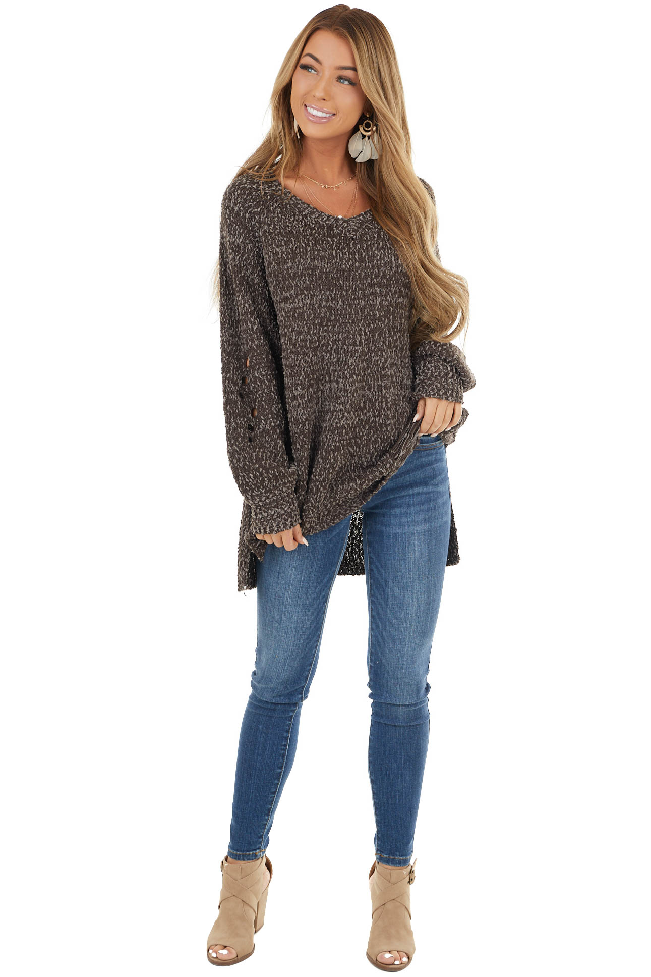 Coffee and Taupe Sweater with Distressed Detail and Cut Outs