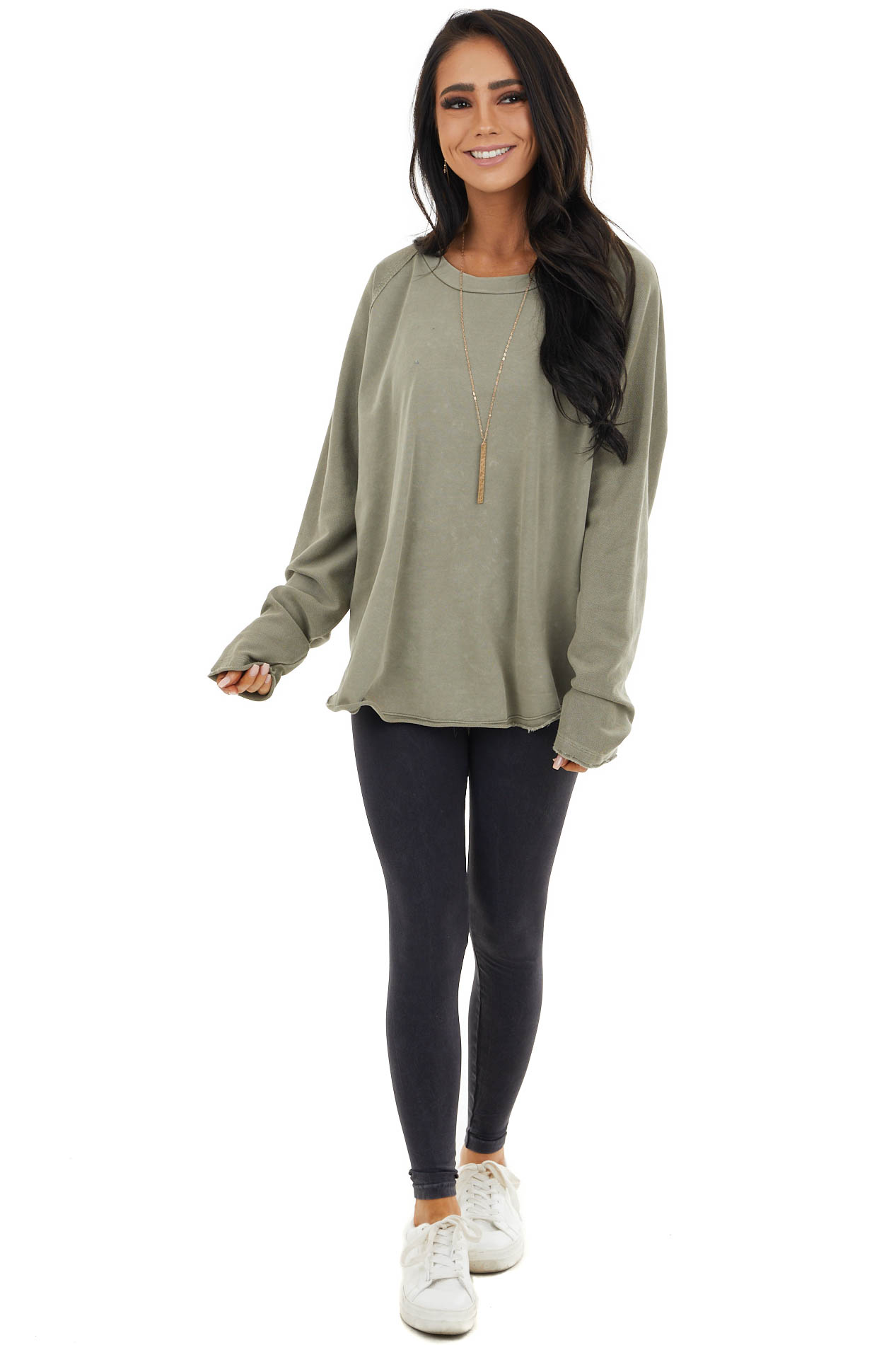 Vintage Taupe Top with Contrast Knit and Raw Edge Details