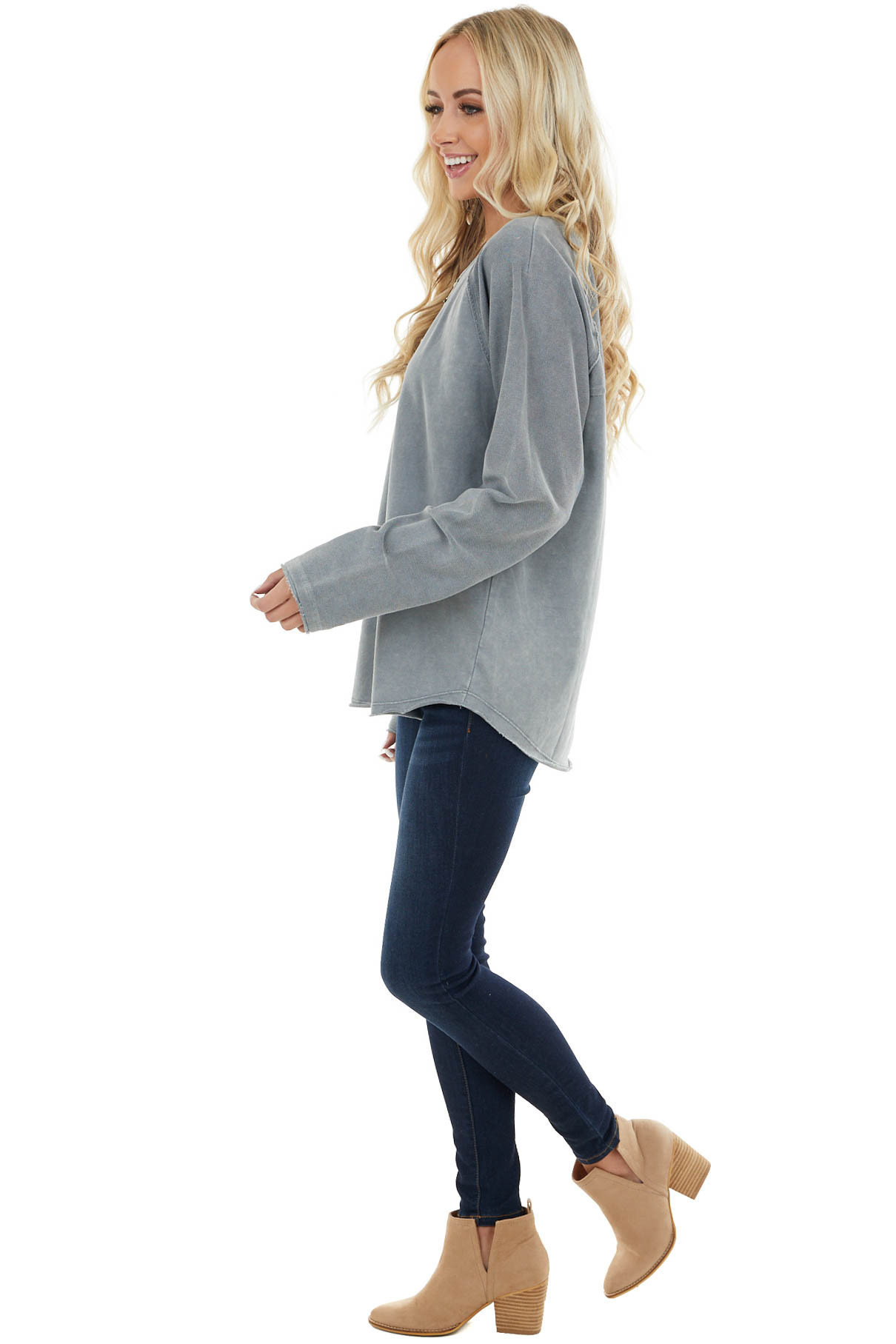 Vintage Slate Grey Top with Contrast Knit and Raw Edges